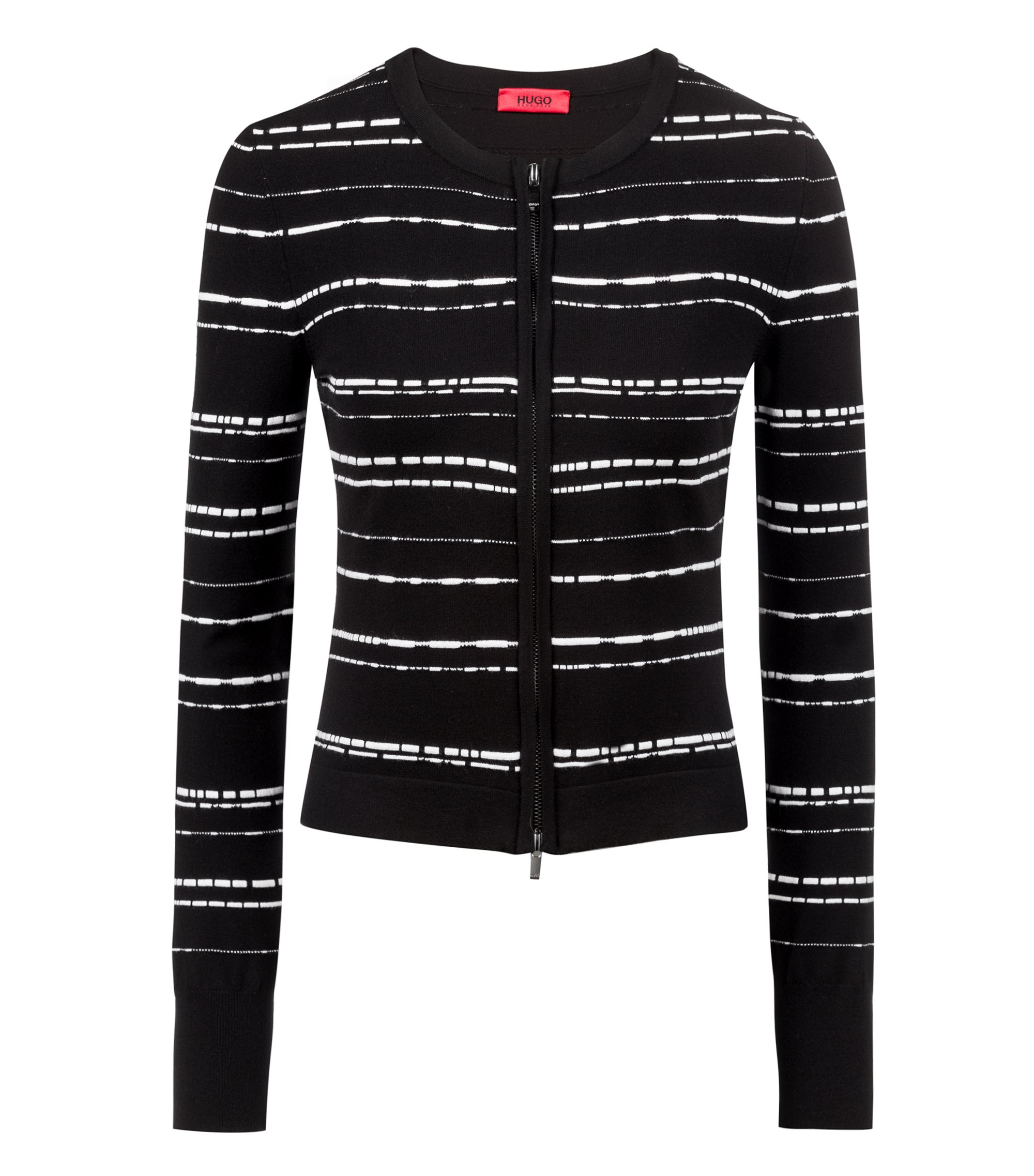 Slim-fit knitted jacket in striped stretch fabric, Patterned