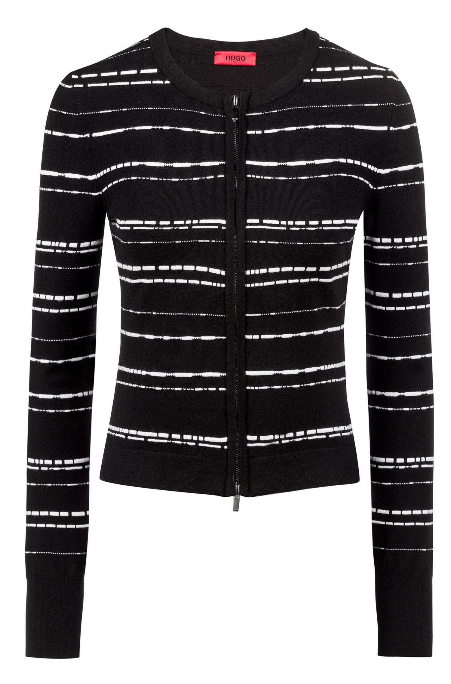 Giacca slim fit in maglia super-elasticizzata con motivo a righe, A disegni