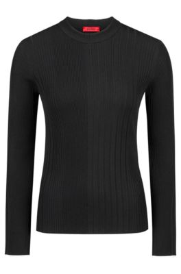 Slim-fit sweater in a ribbed knit, Black