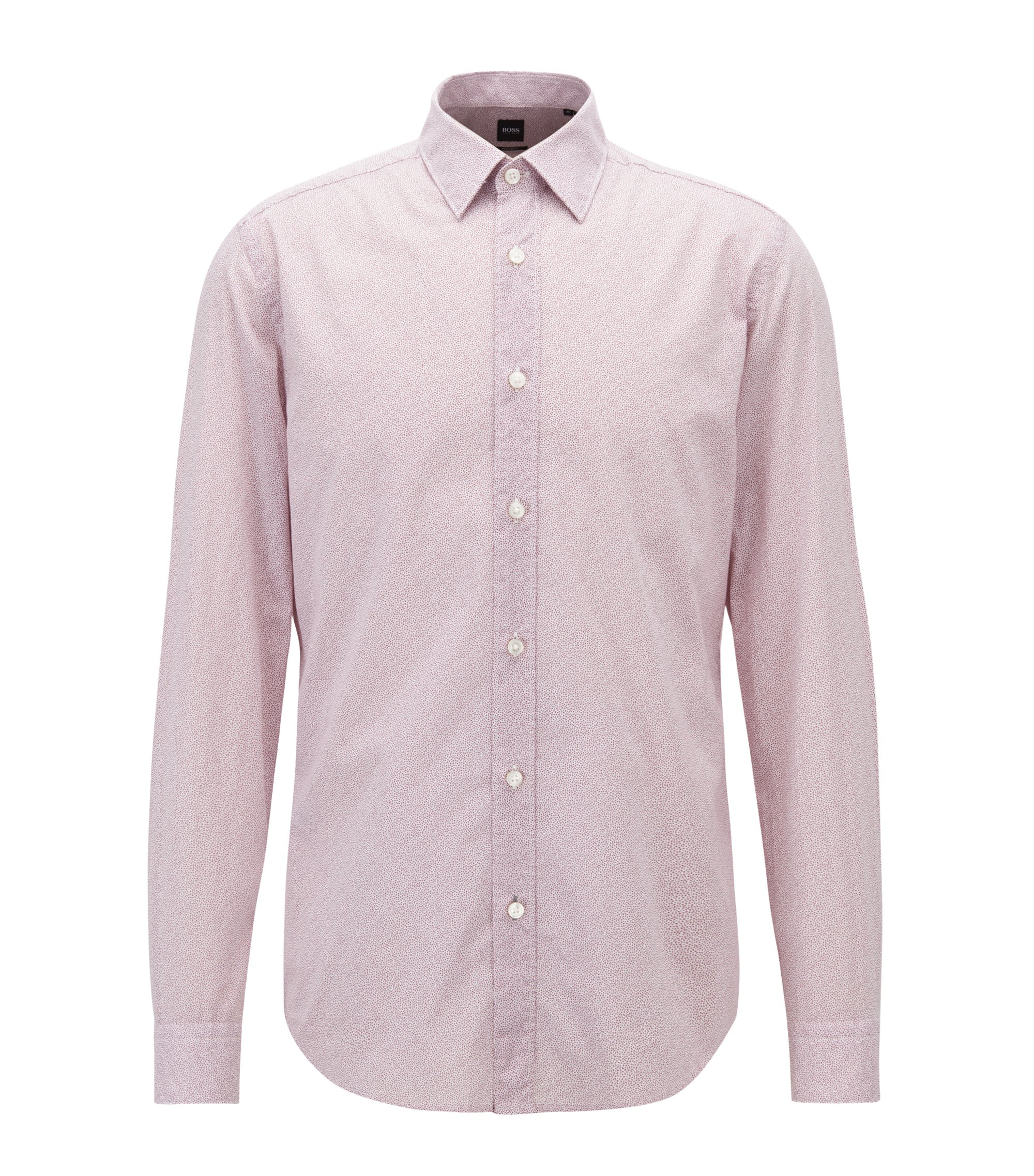 Regular-fit shirt in flower-print cotton voile, Light Purple