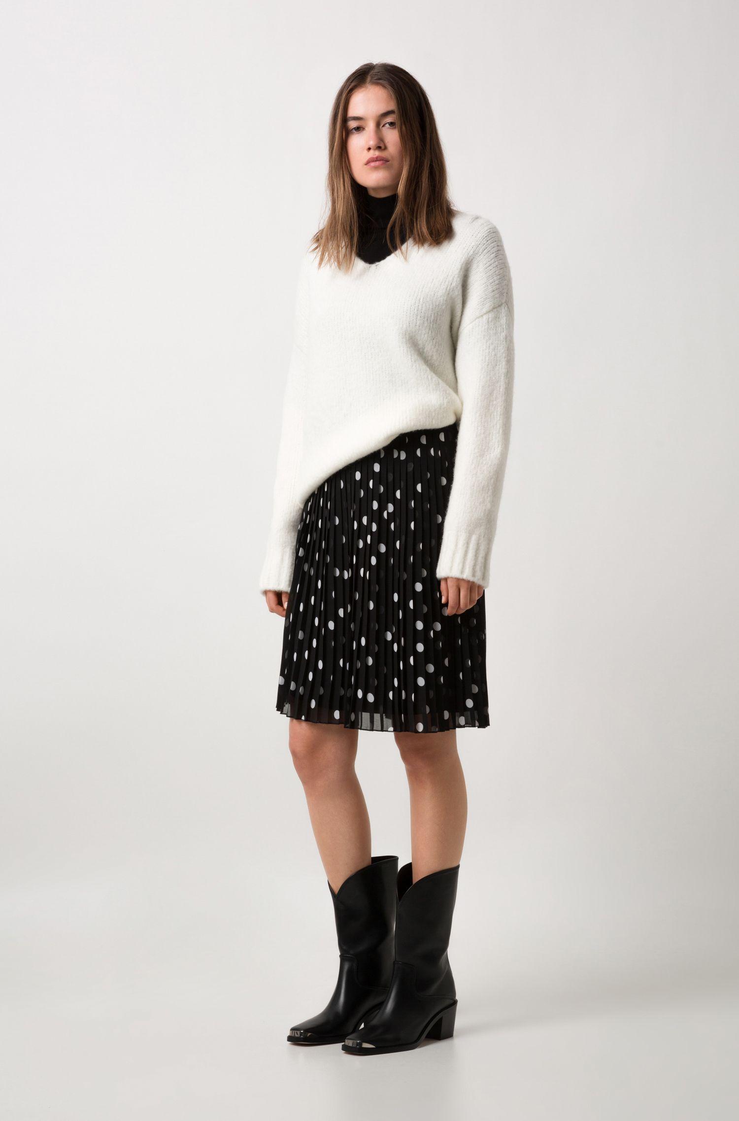 Maglione relaxed fit in misto lana vergine elasticizzata, Naturale