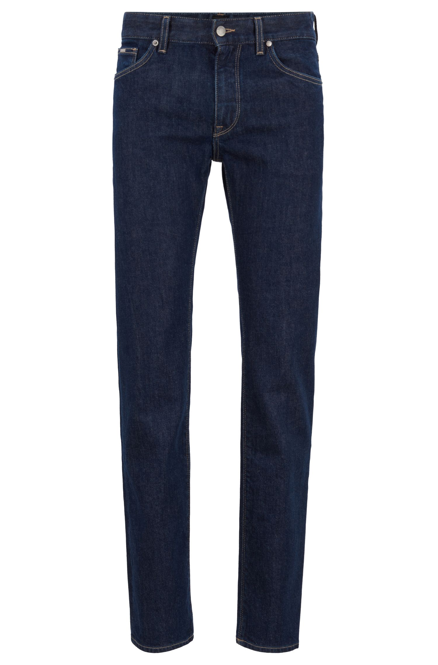 Regular-fit jeans in Italian stretch denim, Dark Blue