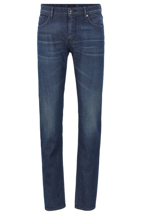 Extra-slim-fit low-rise jeans in Italian stretch denim, Blue