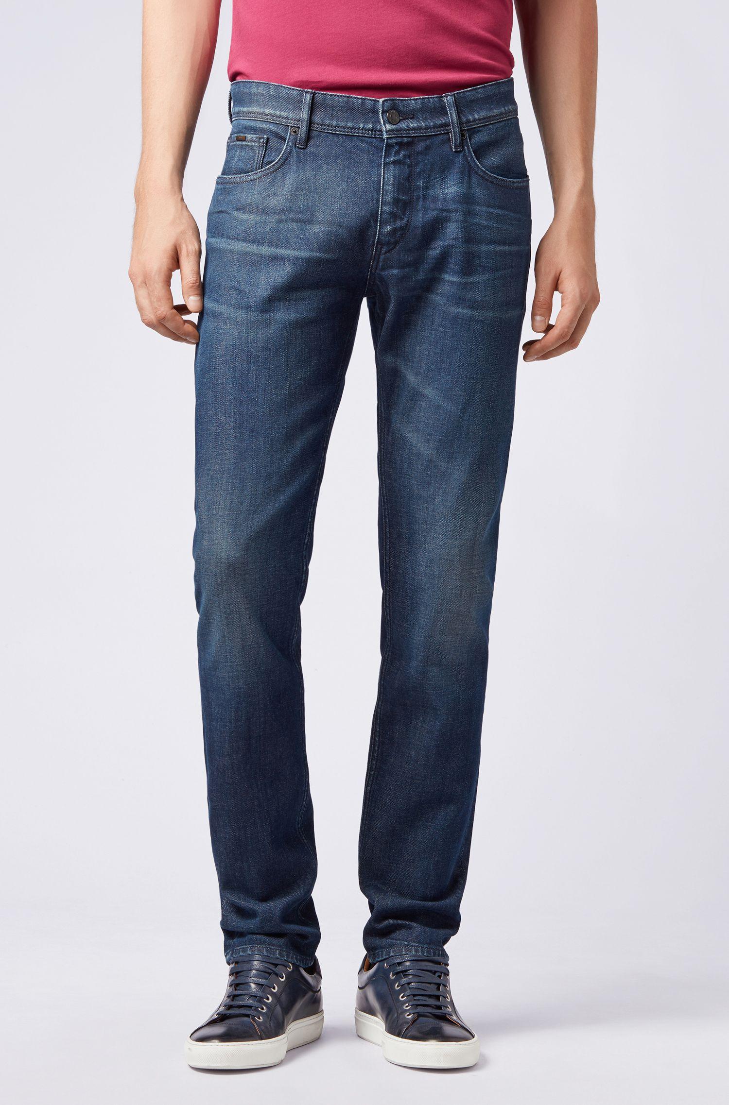 Jeans a vita bassa extra slim fit in denim elasticizzato prodotto in Italia, Blu