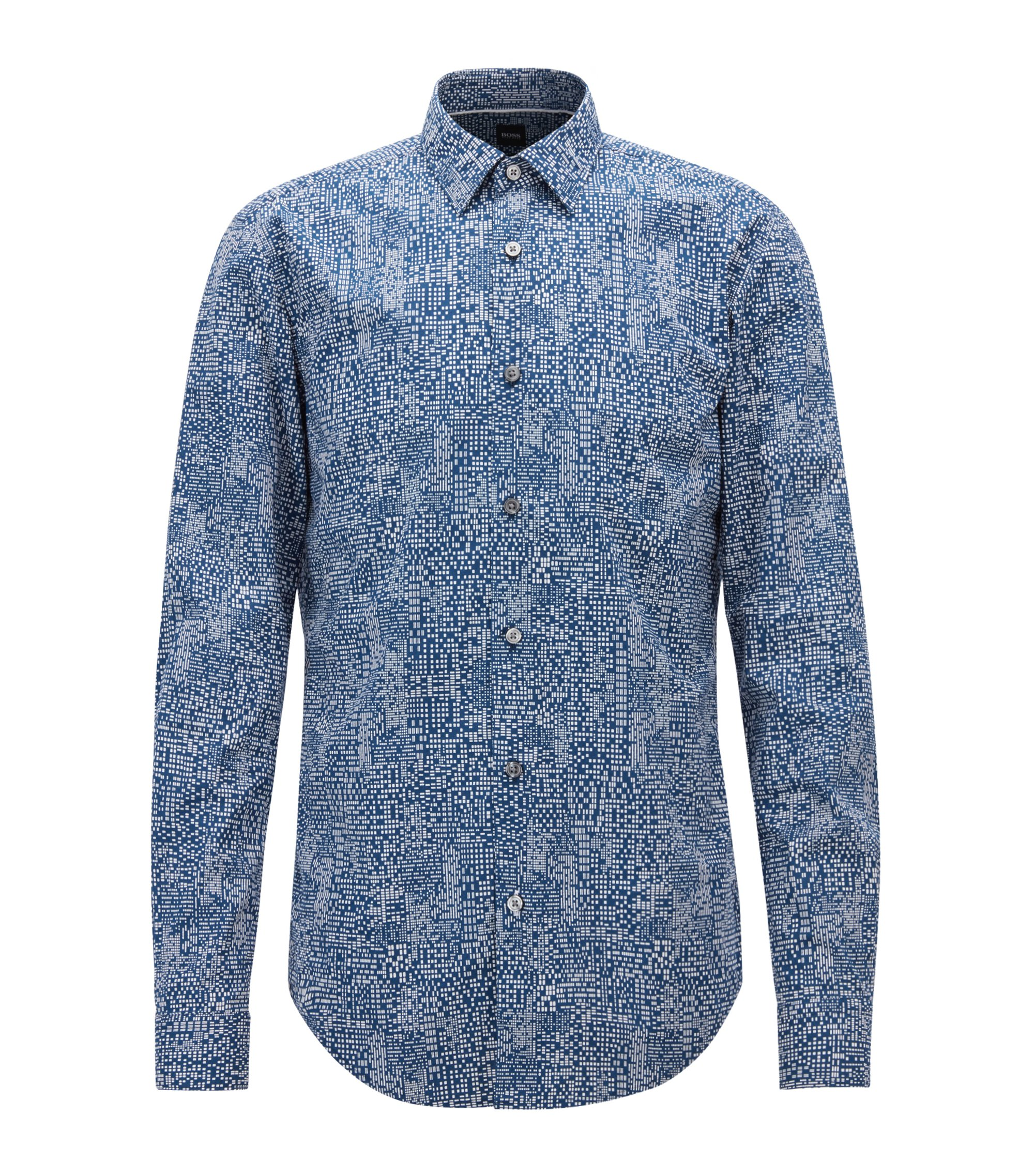 Slim-fit overhemd in katoenen popeline met abstracte print, Blauw