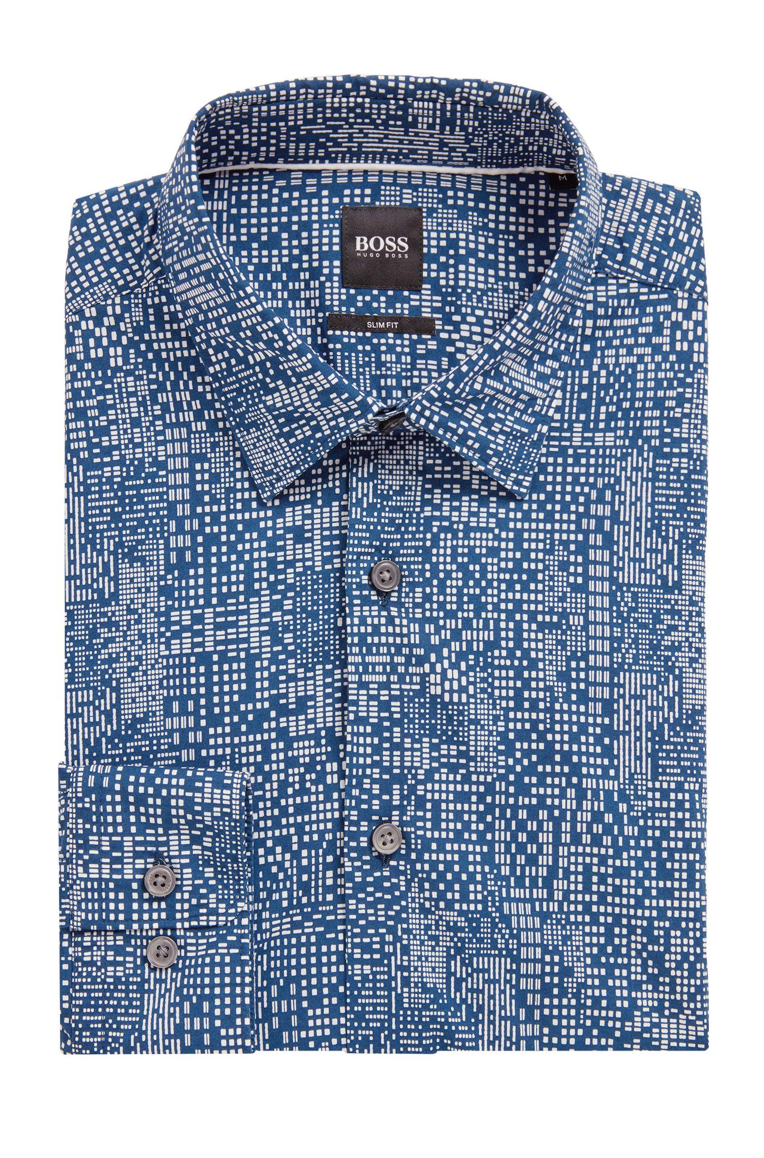 Slim-Fit Hemd aus Baumwoll-Popeline mit abstraktem Print, Blau