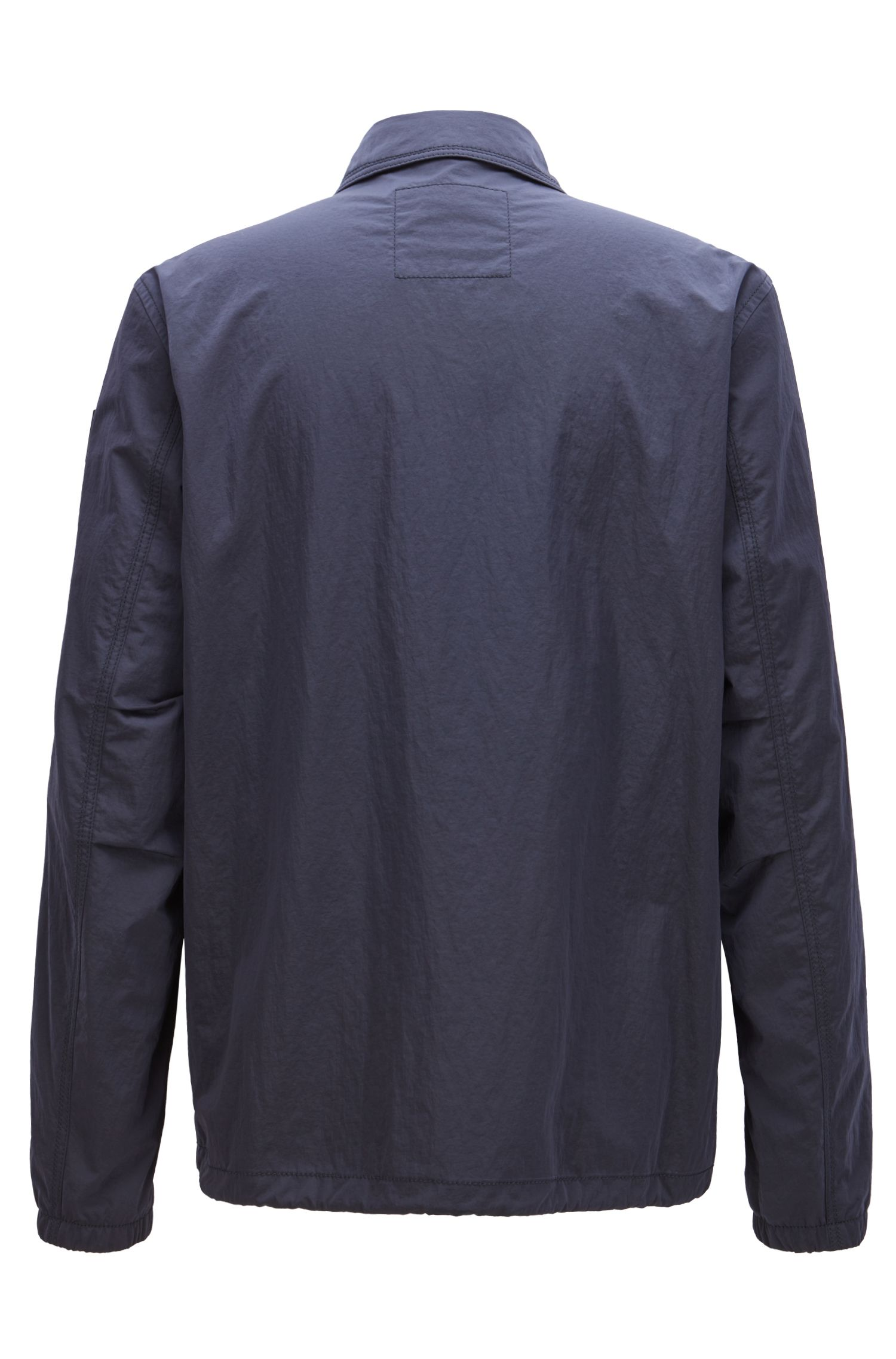 Giacca idrorepellente in tessuto a rilievo realizzato in Italia, Blu scuro