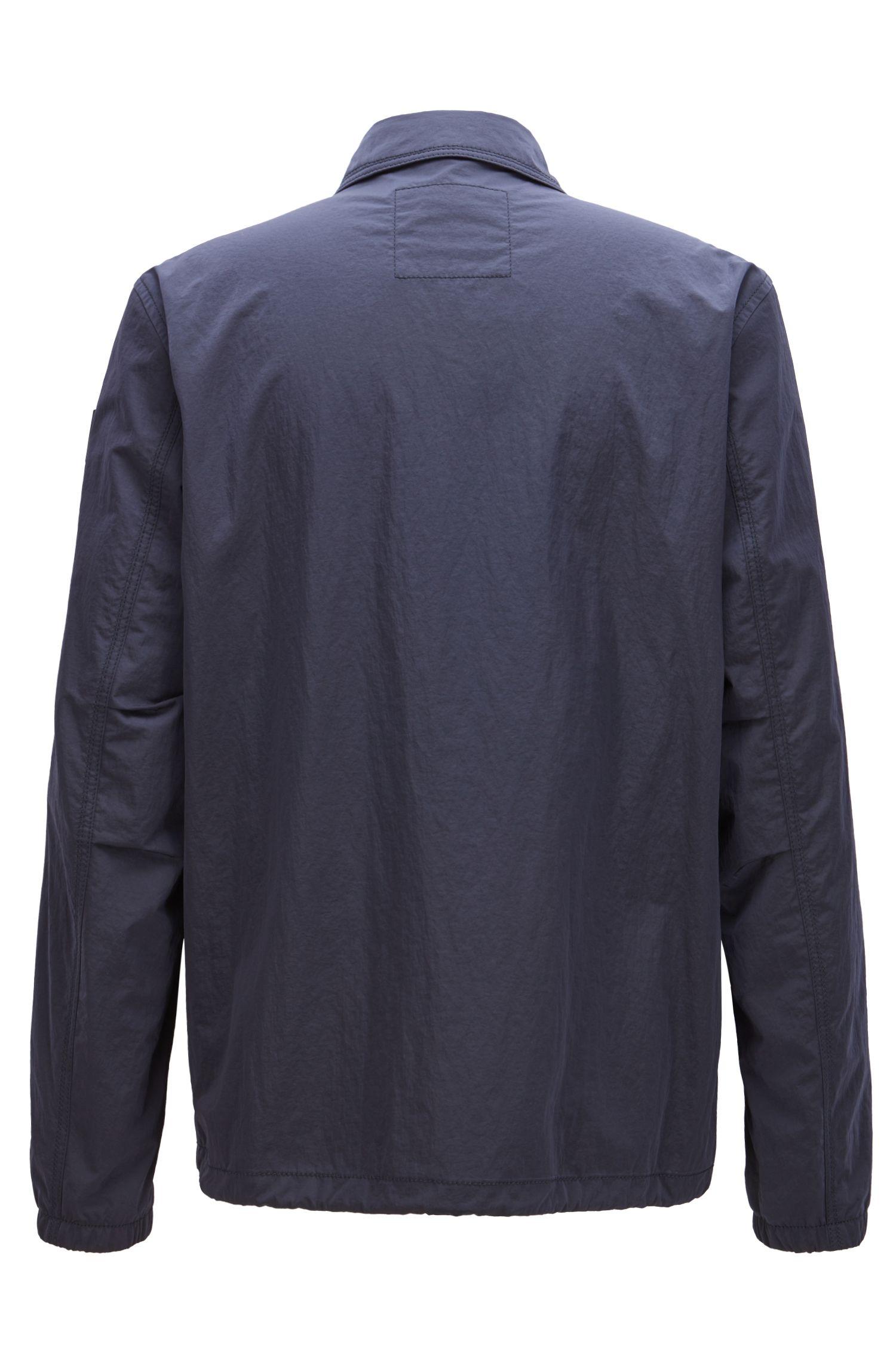 Cazadora repelente al agua en tejido italiano flocado, Azul oscuro
