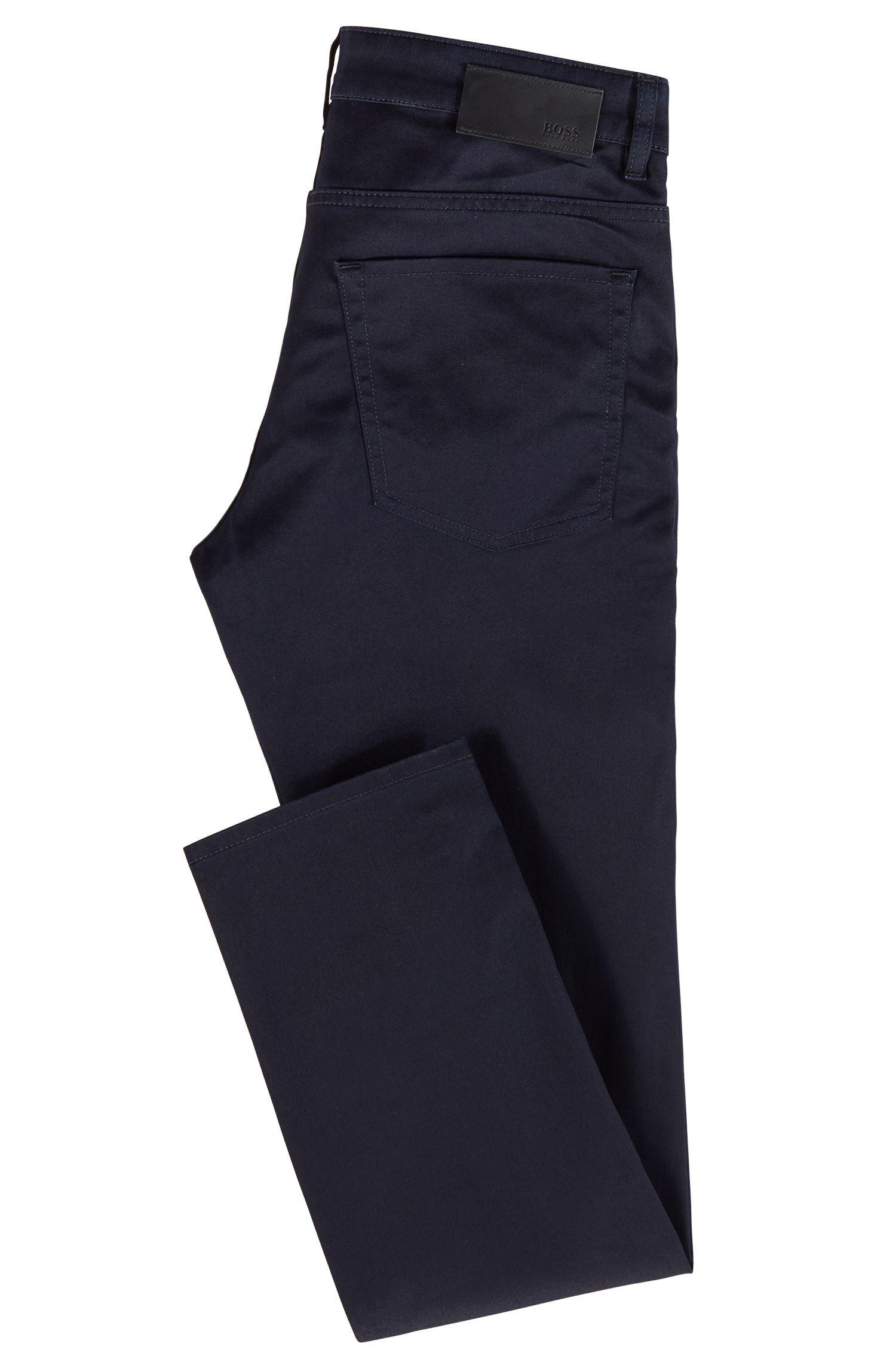 Slim-fit jeans van blauw-zwart Italiaans stretchdenim, Donkerblauw
