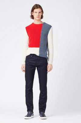 Slim-fit jeans in blue-black Italian denim, Dark Blue