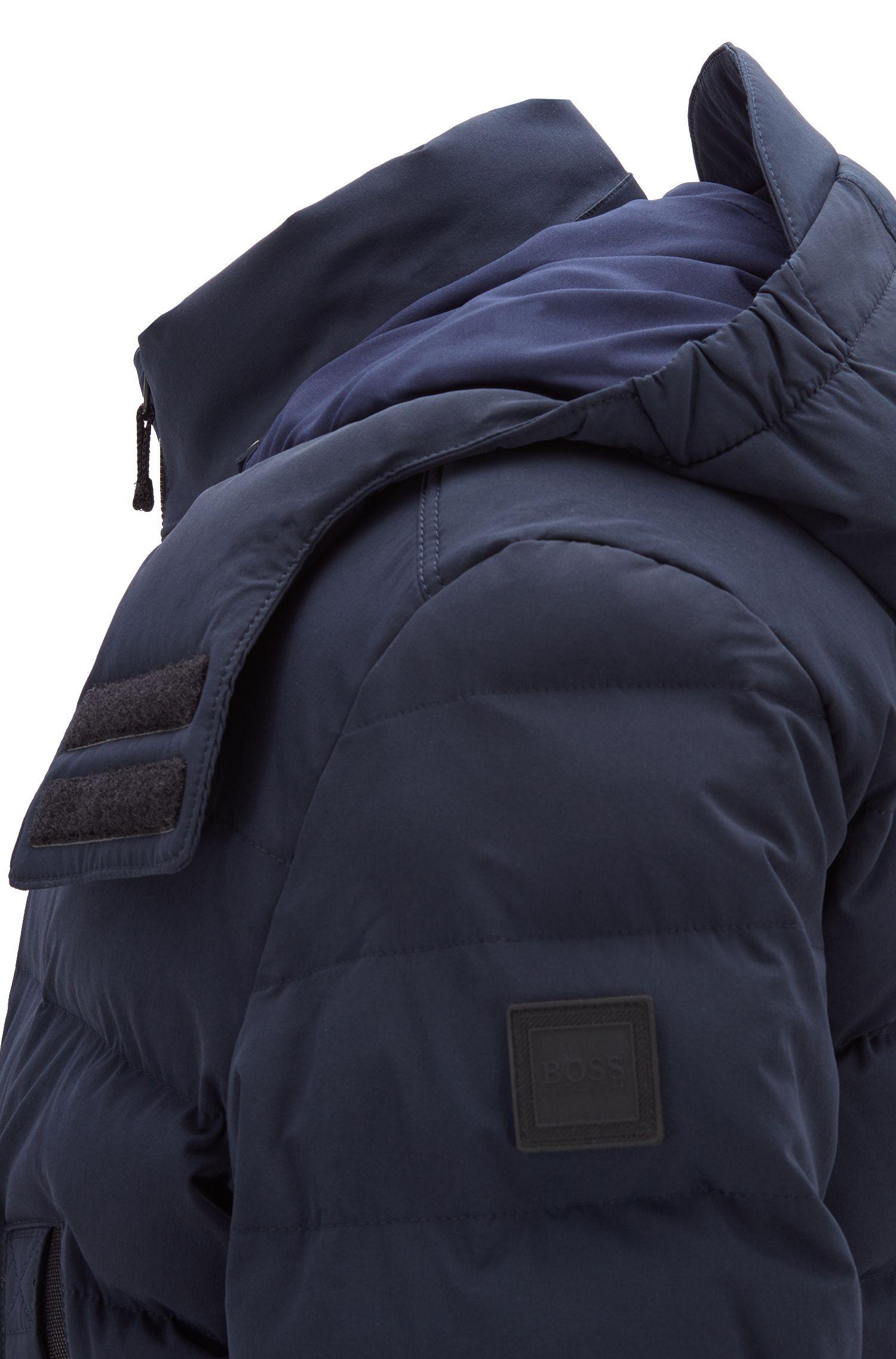 Veste imperméable matelassée en tissu stretch quadri-extensible, Bleu foncé