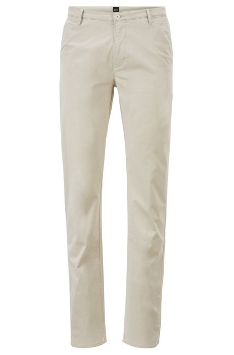 Chino Slim Fit en coton stretch à la finition brossée Diamond Brushed, Beige clair