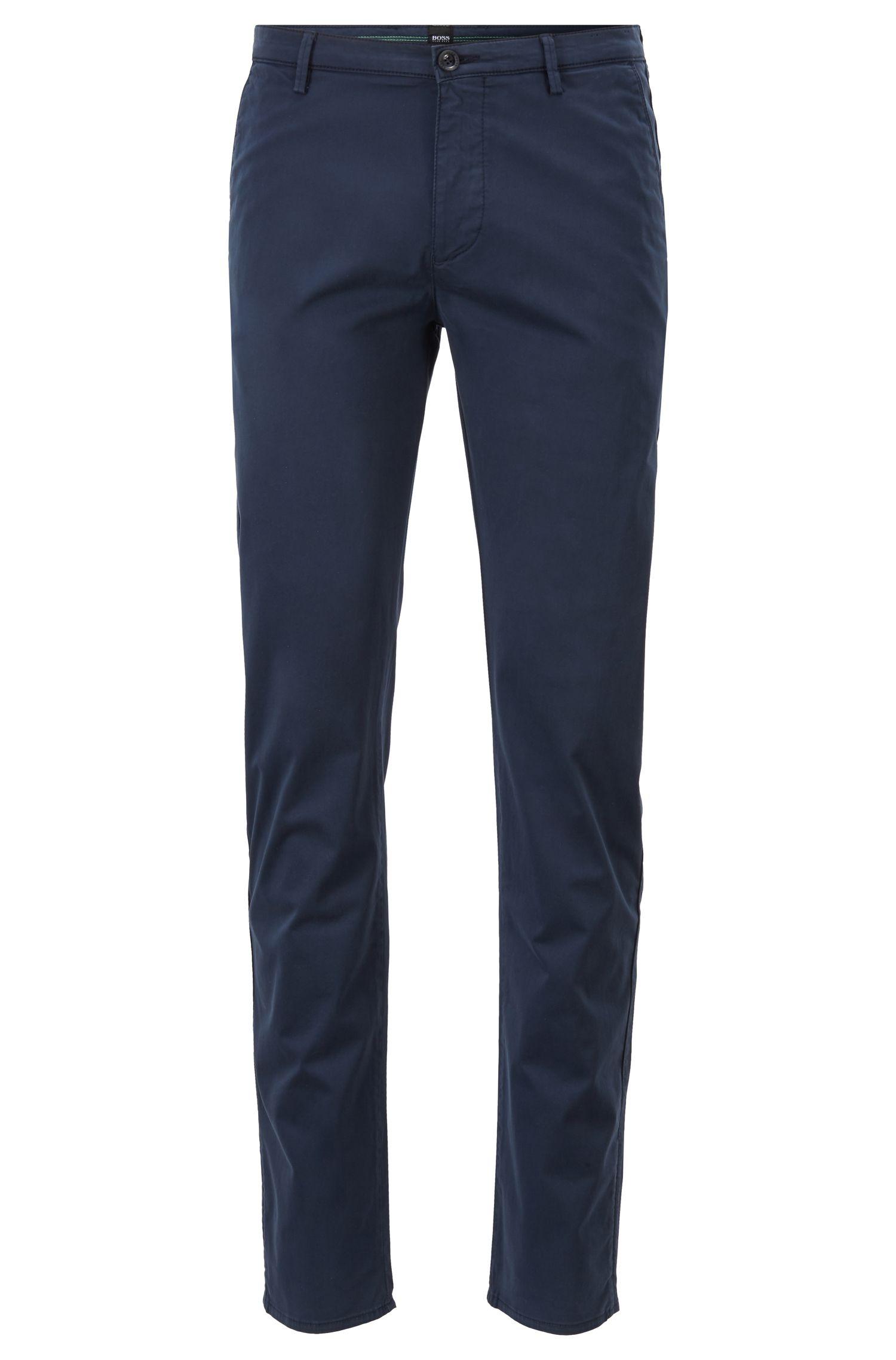 Slim-fit chinos in diamond-brushed stretch cotton, Dark Blue