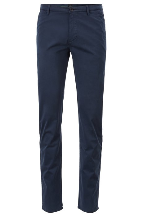 Chino Slim Fit en coton stretch à la finition brossée Diamond Brushed, Bleu foncé