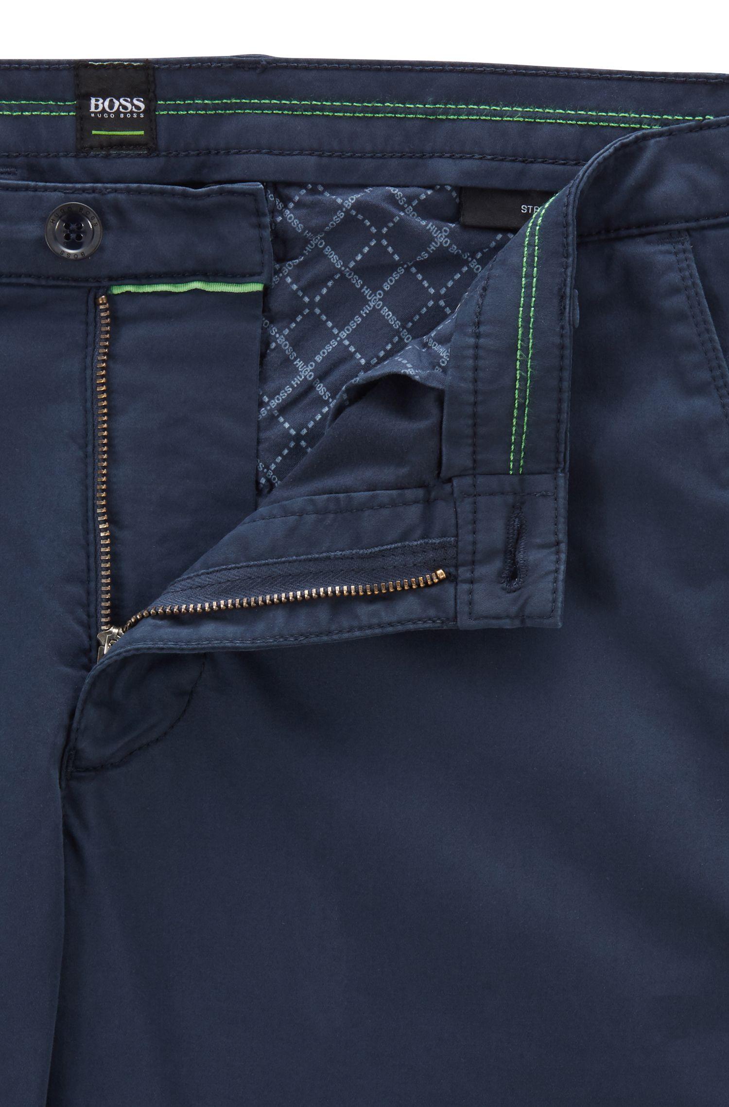 Chino Slim Fit en coton stretch à la finition brossée DiamondBrushed, Bleu foncé