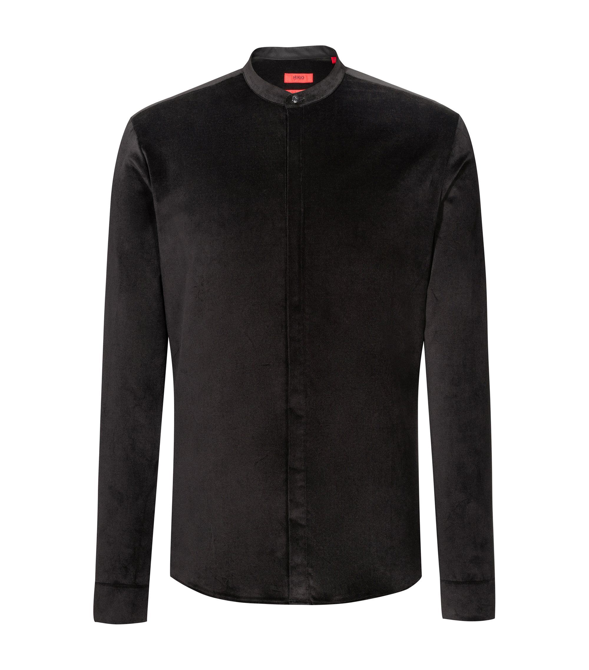 Chemise en velours stretch Extra Slim Fit , Noir