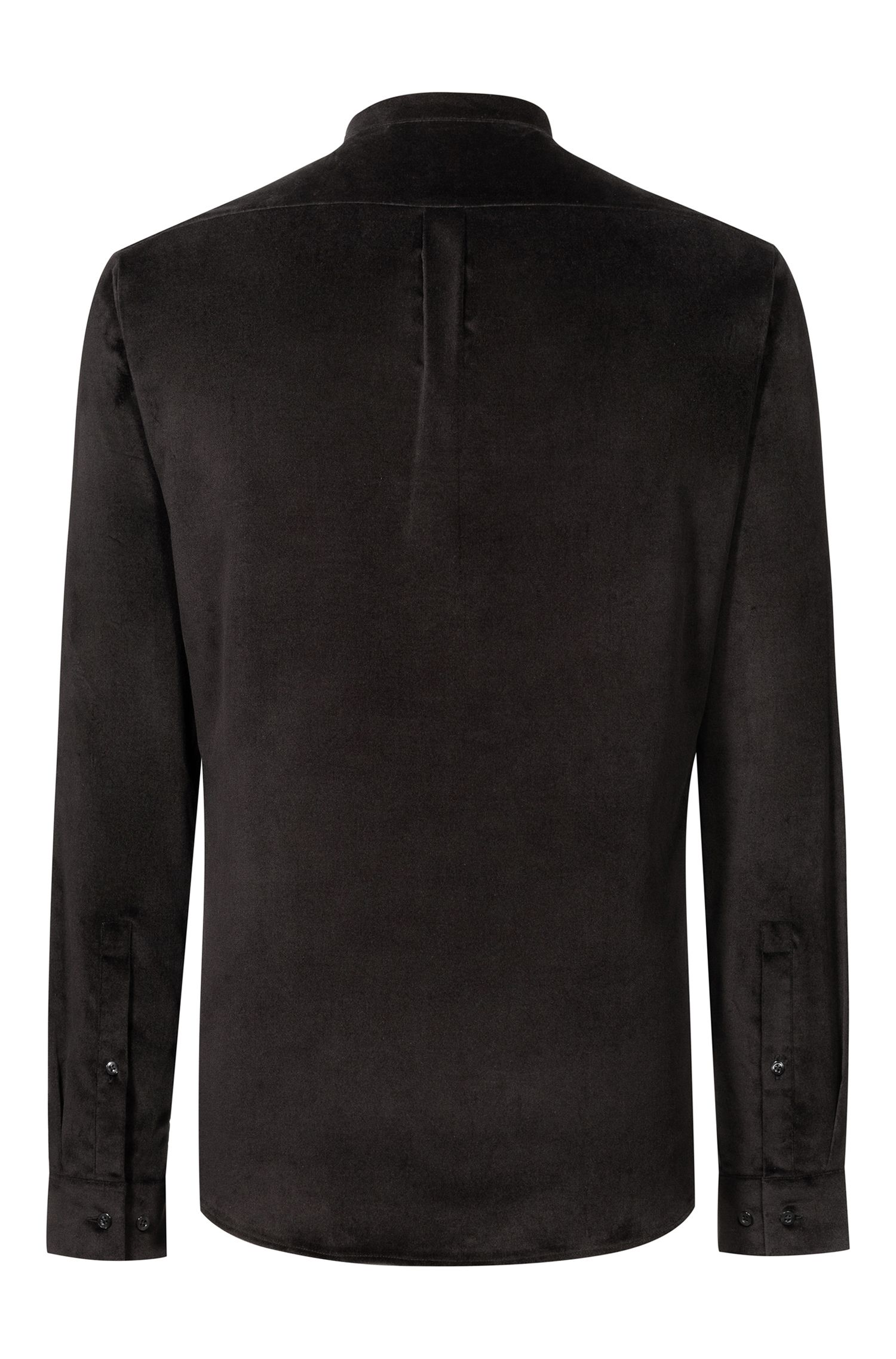 Extra-slim-fit shirt in stretch velvet , Black
