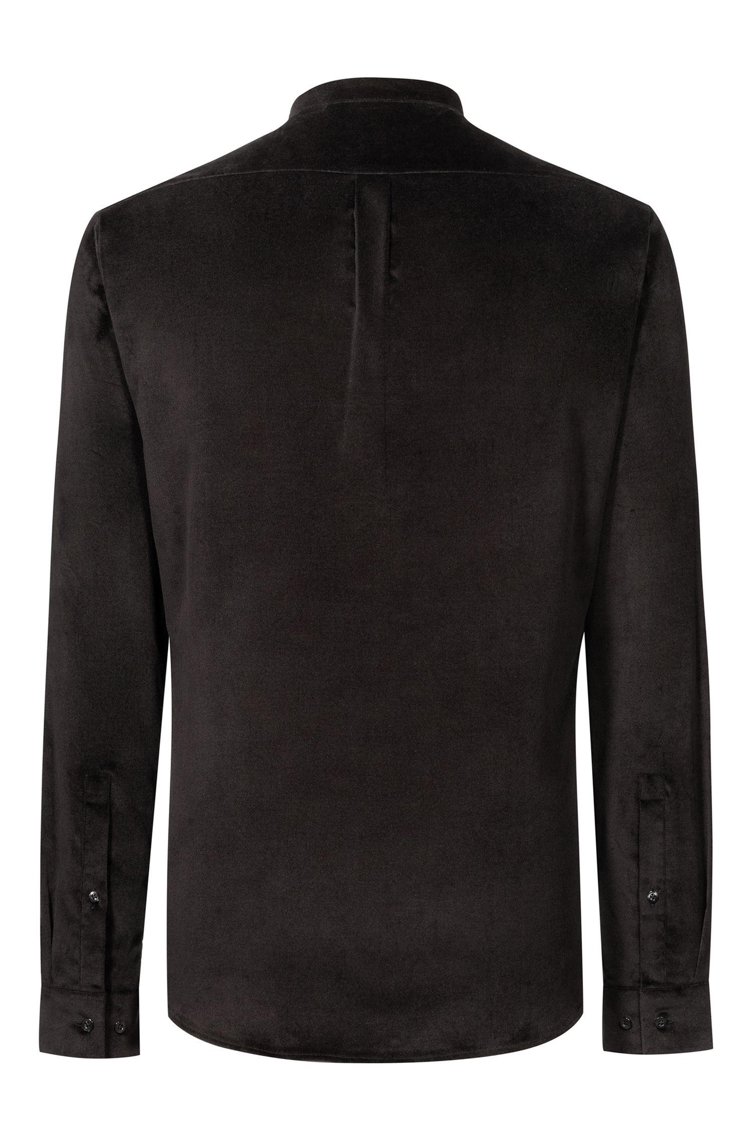 Extra Slim-Fit Hemd aus Stretch-Samt , Schwarz