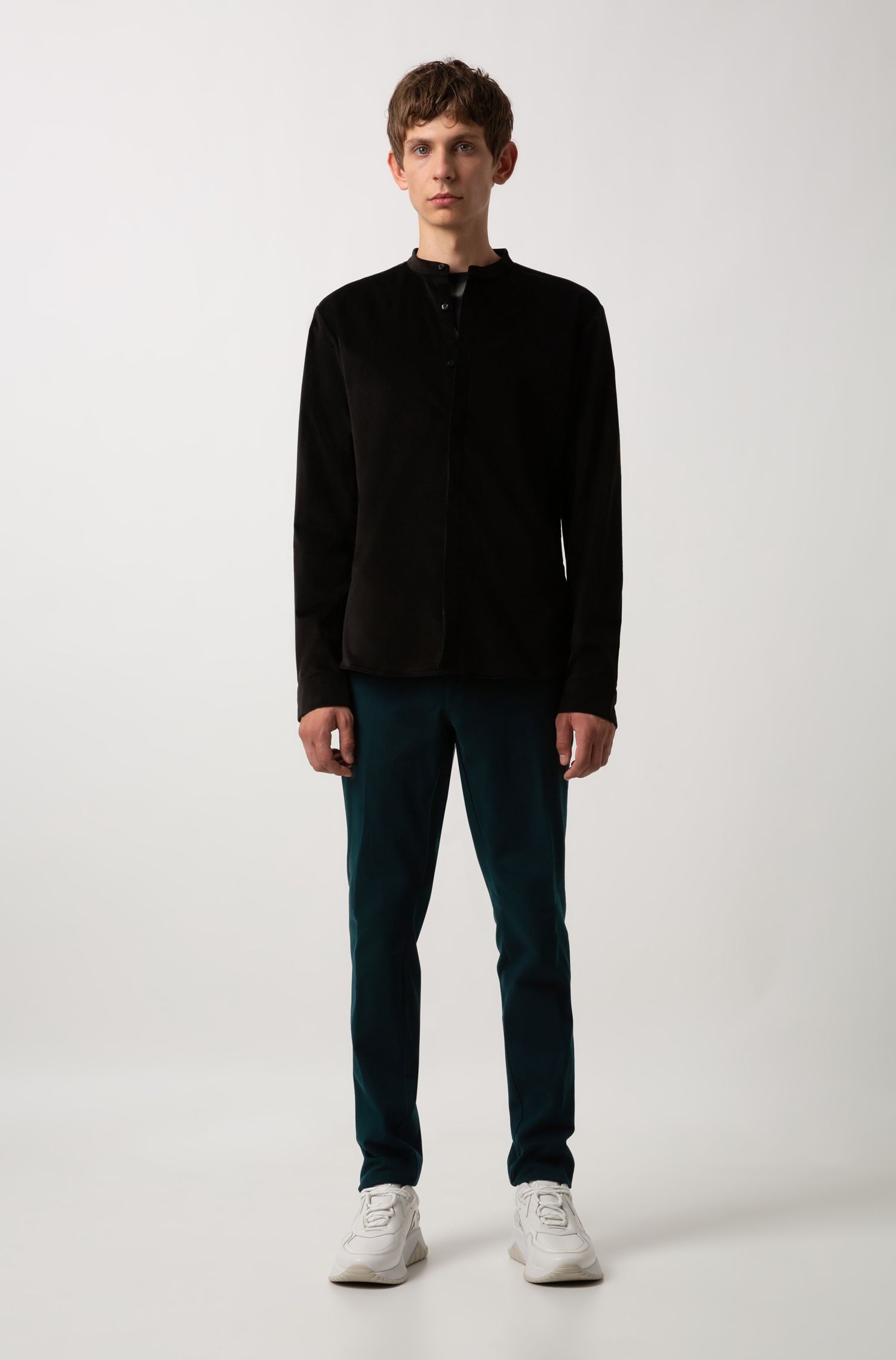 Camicia extra slim fit in velluto elasticizzato , Nero