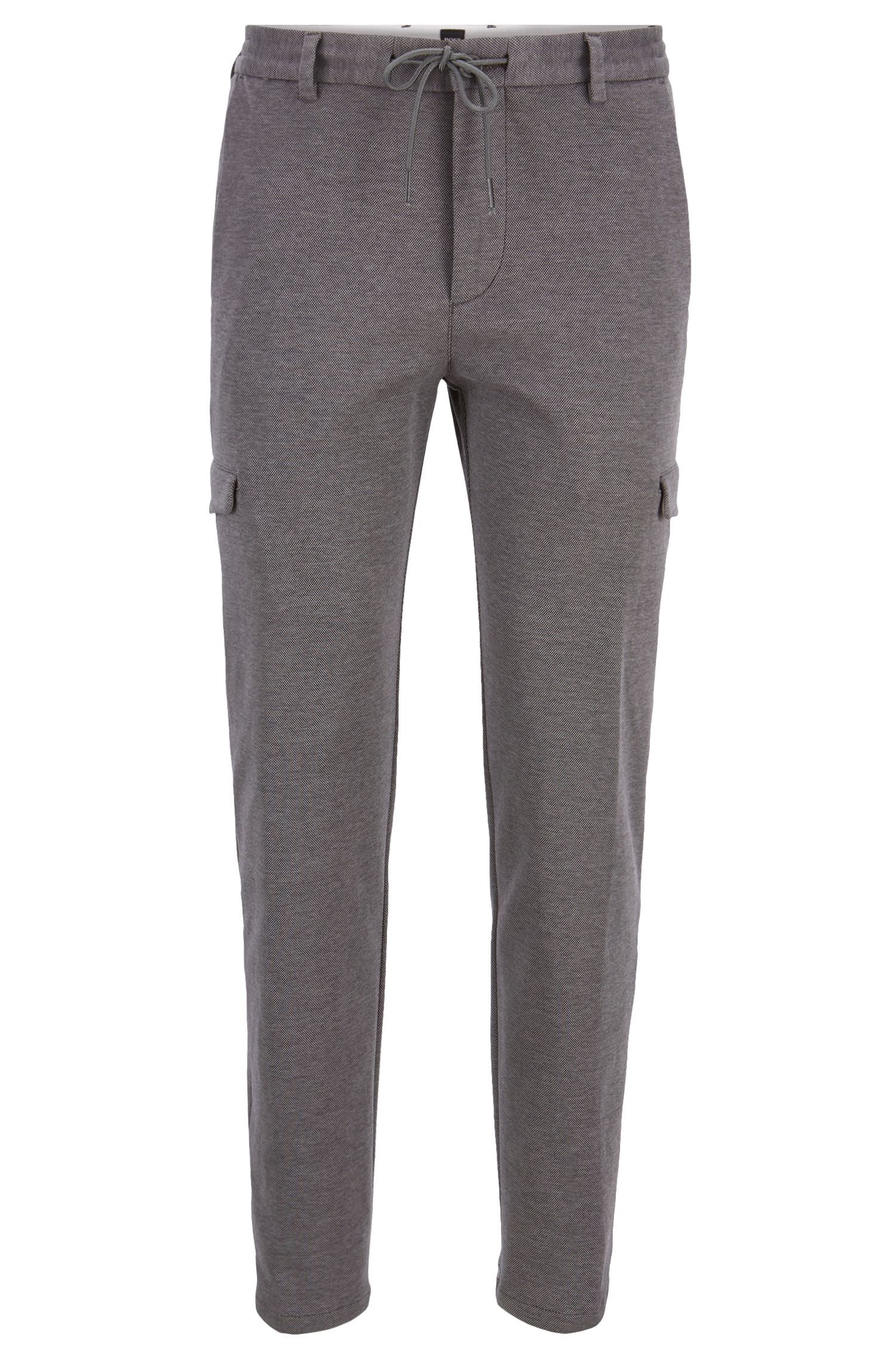 Regular-fit jersey cargo trousers with gallon stripe, Grey