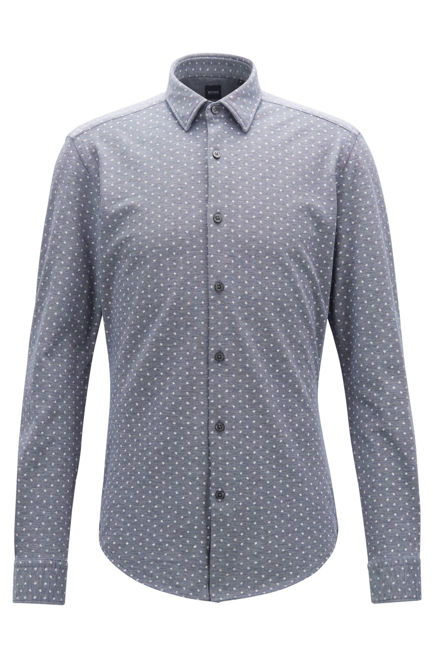 Slim-Fit Hemd aus Jersey mit Piqué-Struktur und exklusivem Muster, Dunkelblau