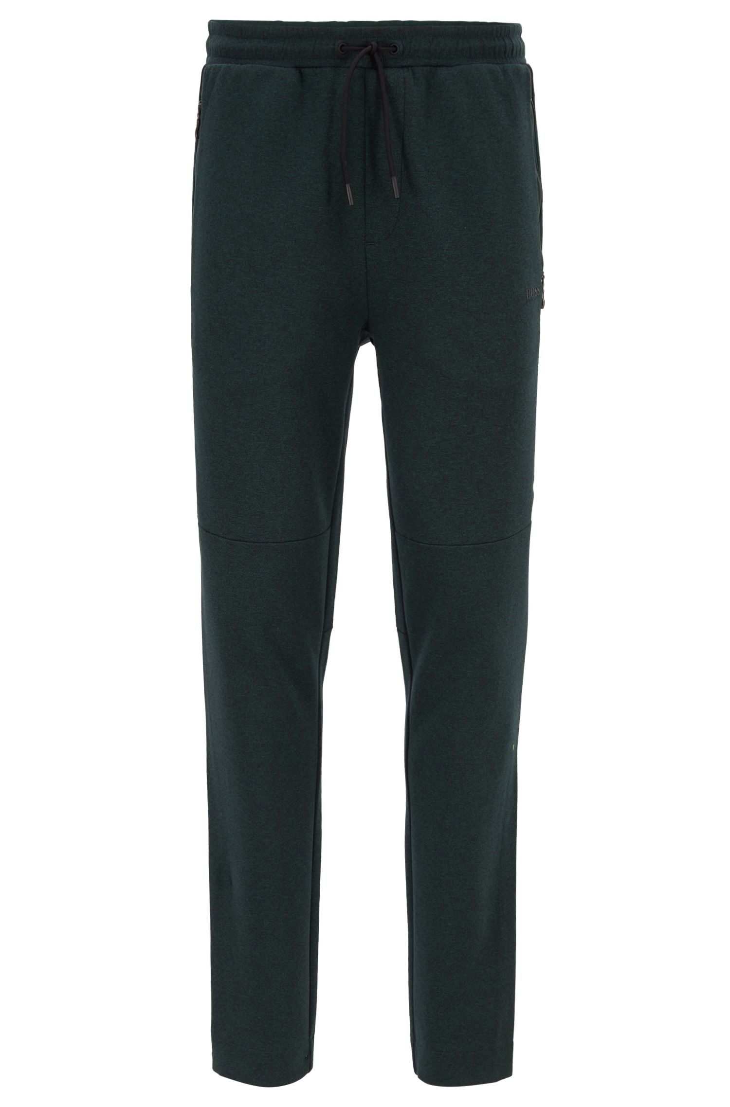 Slim-fit mouliné jersey trousers with tape details, Dark Green