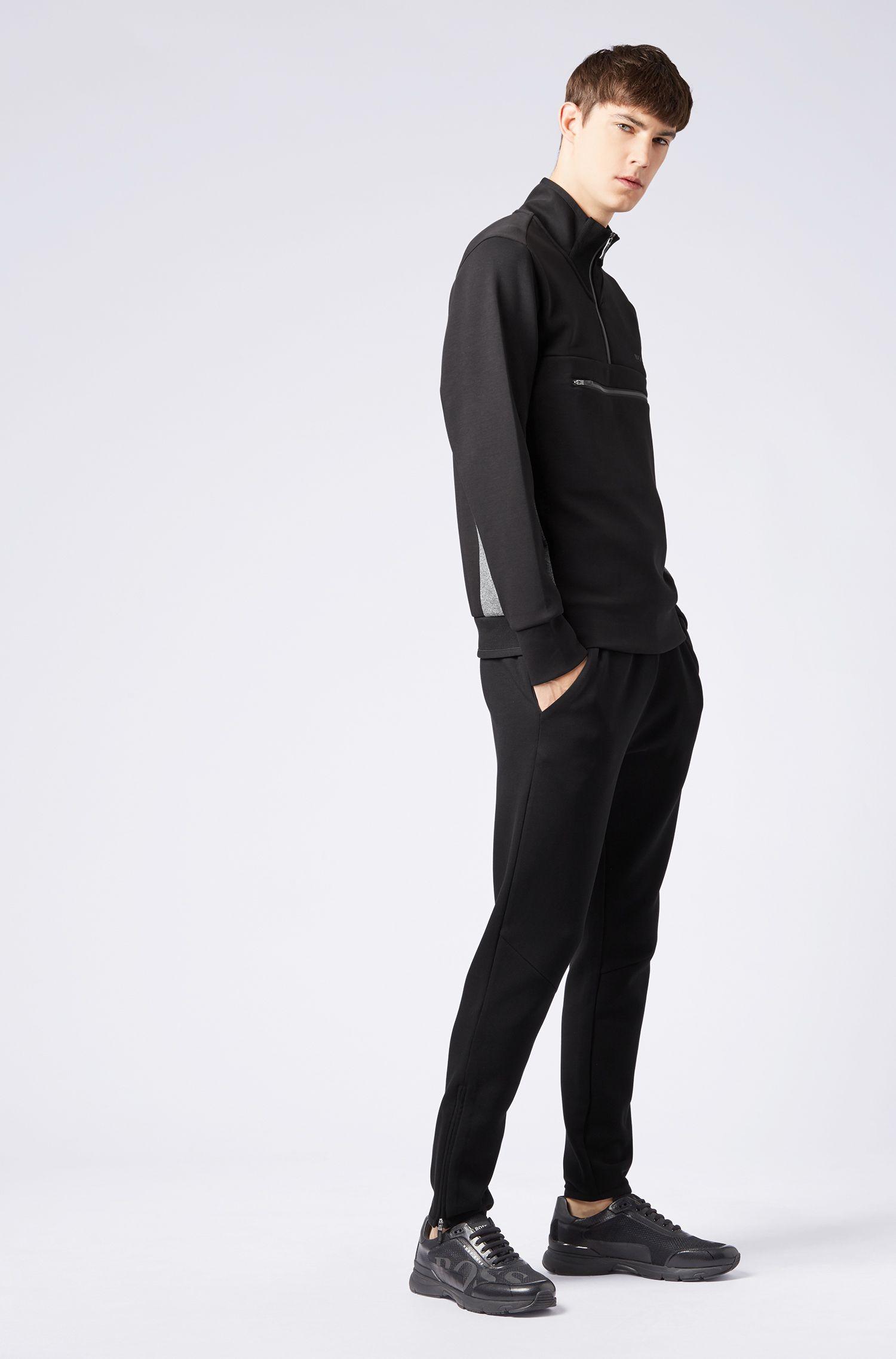 Sweatshirt aus Baumwoll-Mix mit Troyerkragen und reflektierenden Details, Schwarz