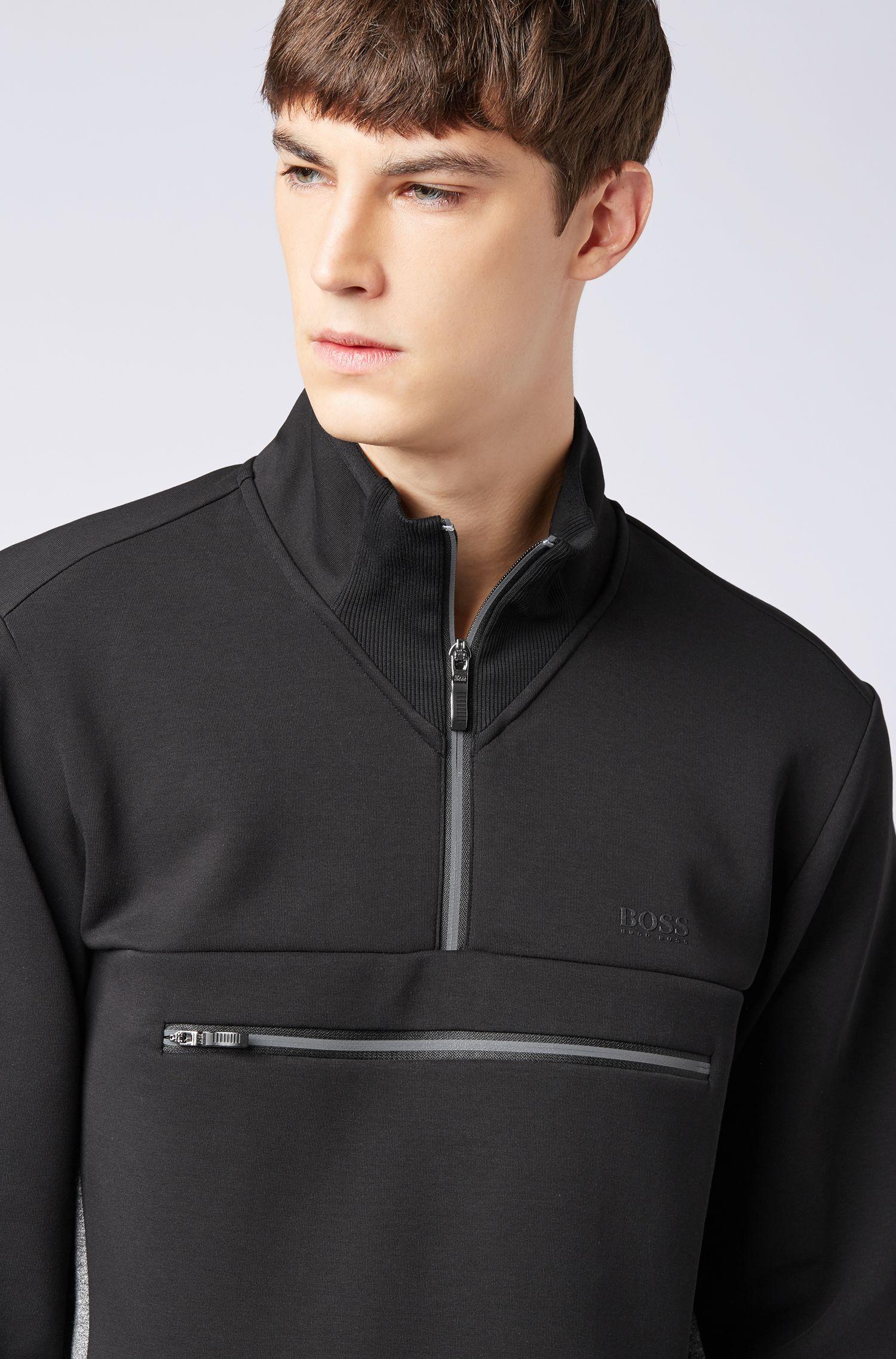 Zip-neck sweatshirt in stretch fabric with reflective details, Black
