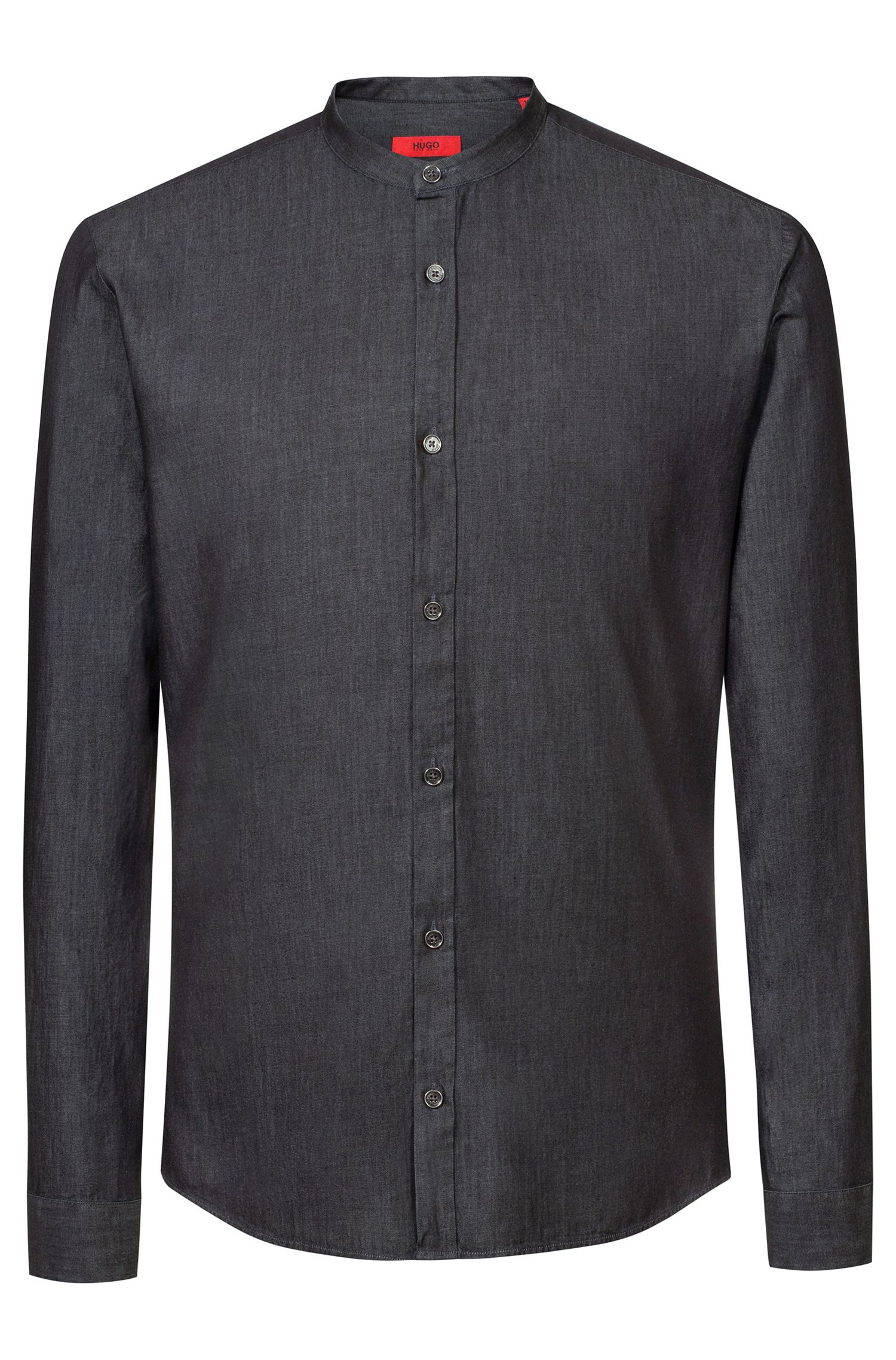 Extra slim-fit overhemd van indigo-washed Italiaans denim, Zwart