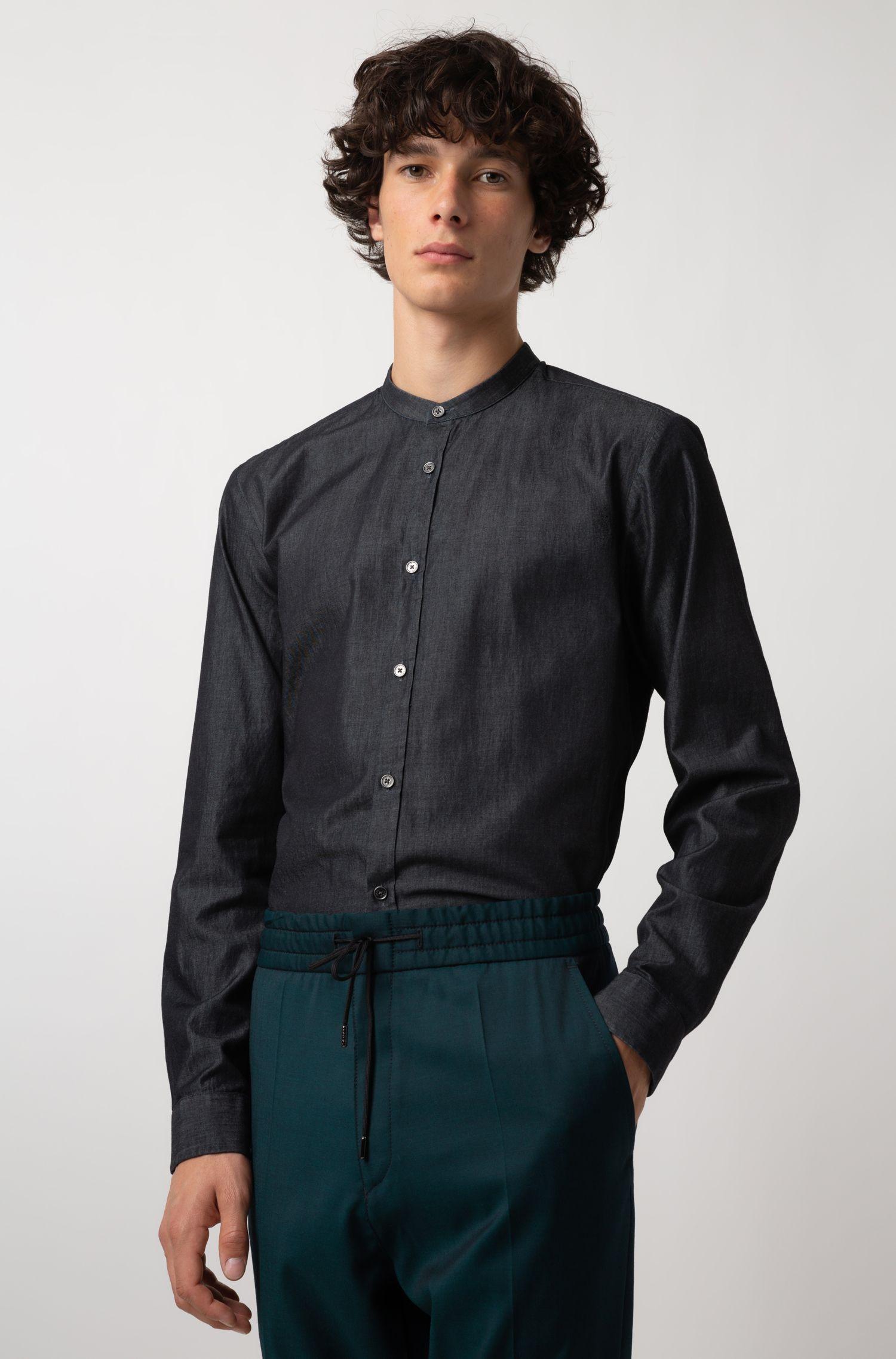 Camisa extra slim fit en tejido vaquero italiano con lavado de color añil, Negro