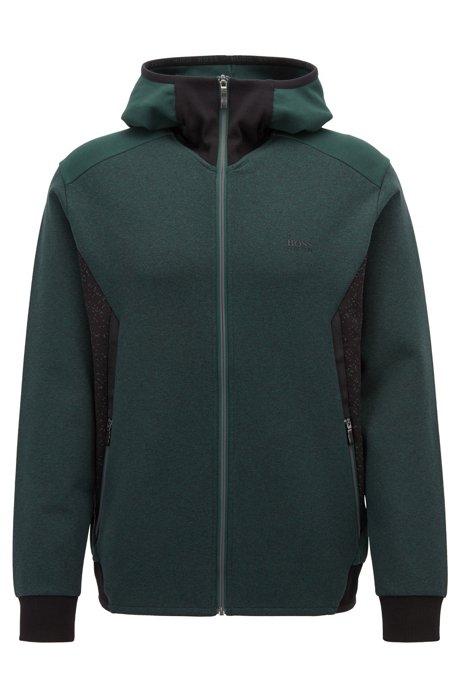 Kapuzen-Sweatshirt aus Stretch-Jersey mit reflektierenden Details, Dunkelgrün