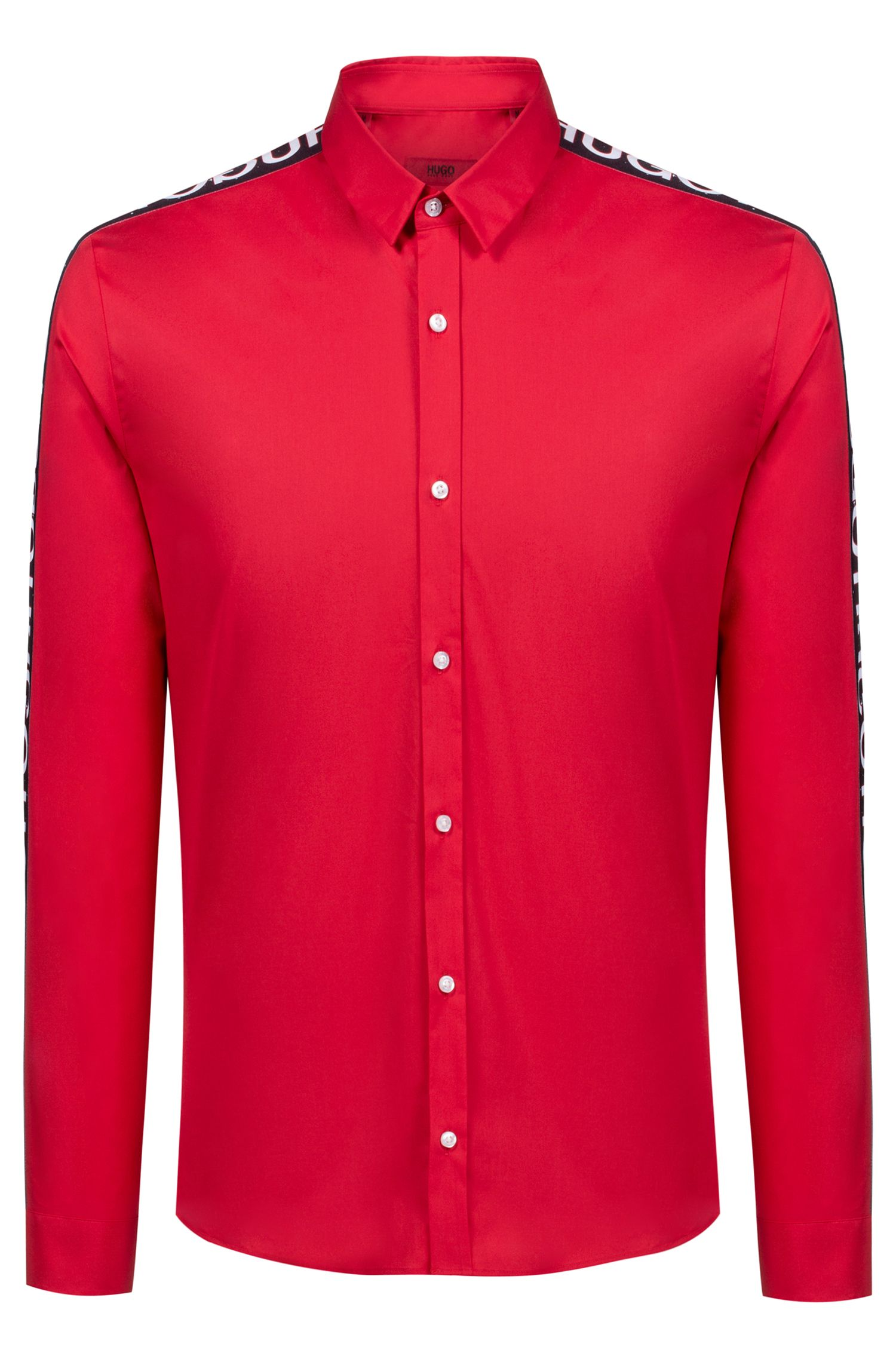 Extra-slim-fit stretch-cotton shirt with logo tape, Red