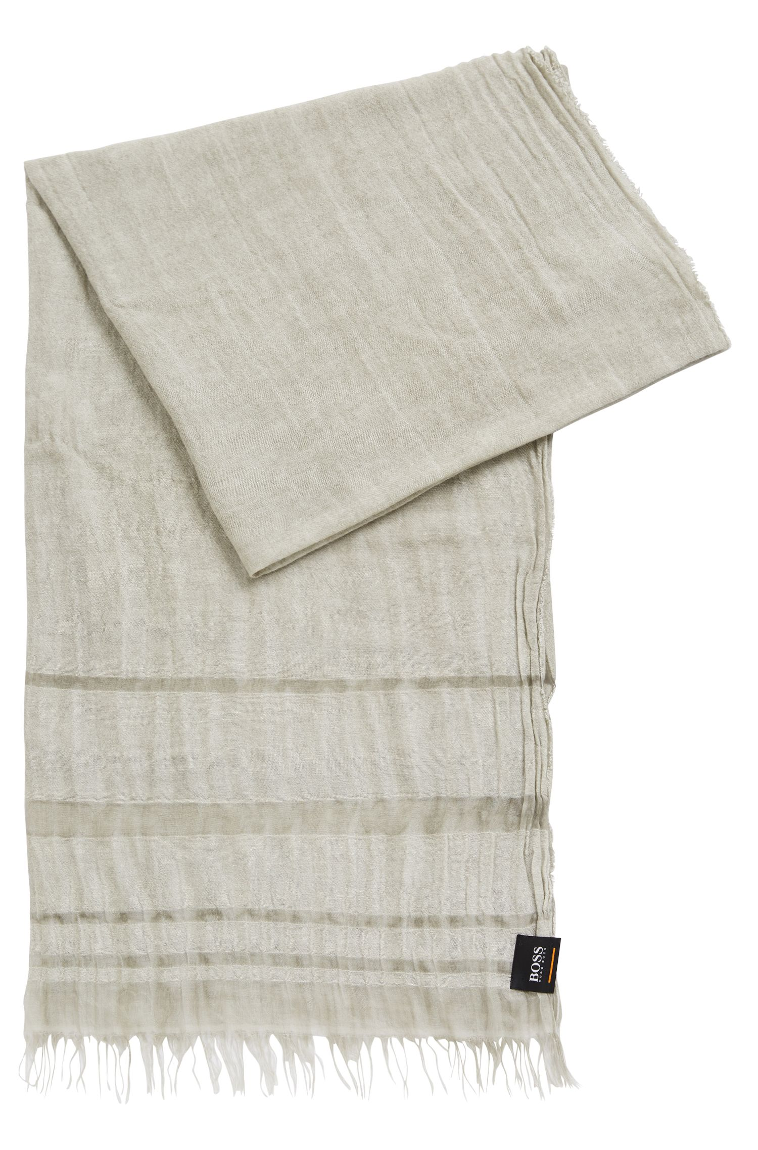 Sciarpa bicolore a righe con frange, Grigio