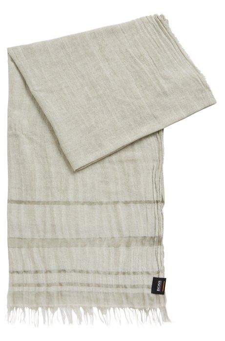 Tweekleurige sjaal met streepaccenten en franjes, Grijs