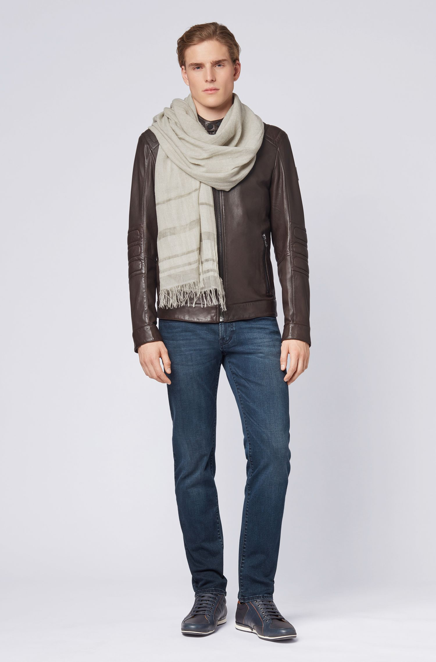 Two-tone scarf with placement stripes and fringing, Grey