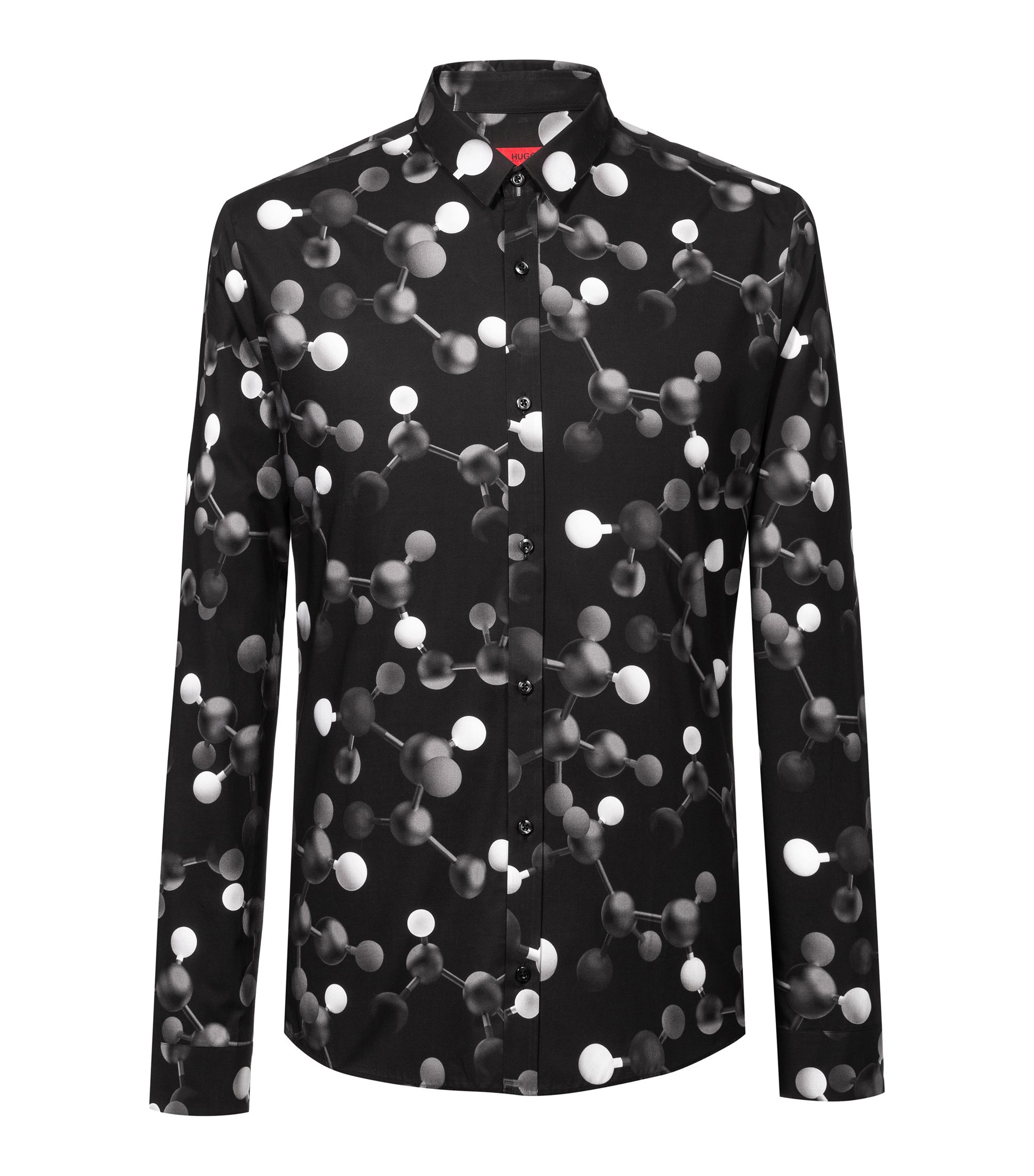 Extra Slim-Fit Hemd aus Baumwolle mit Atom-Print, Gemustert