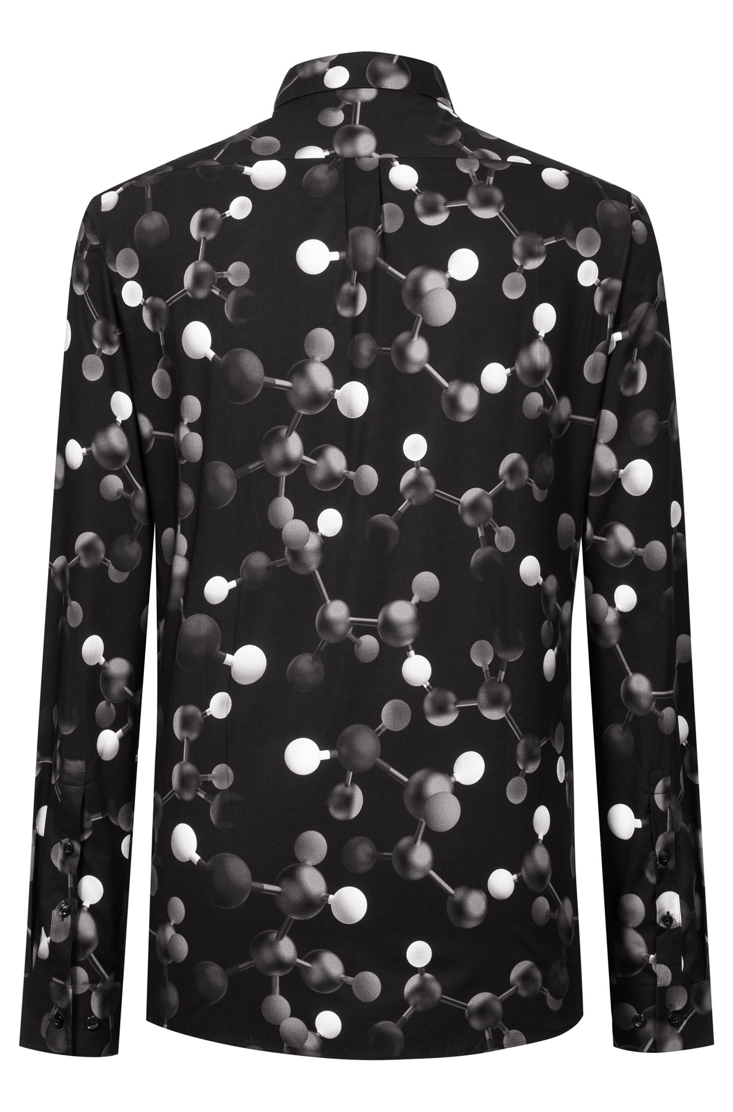 Extra-slim-fit cotton shirt with atom print, Patterned