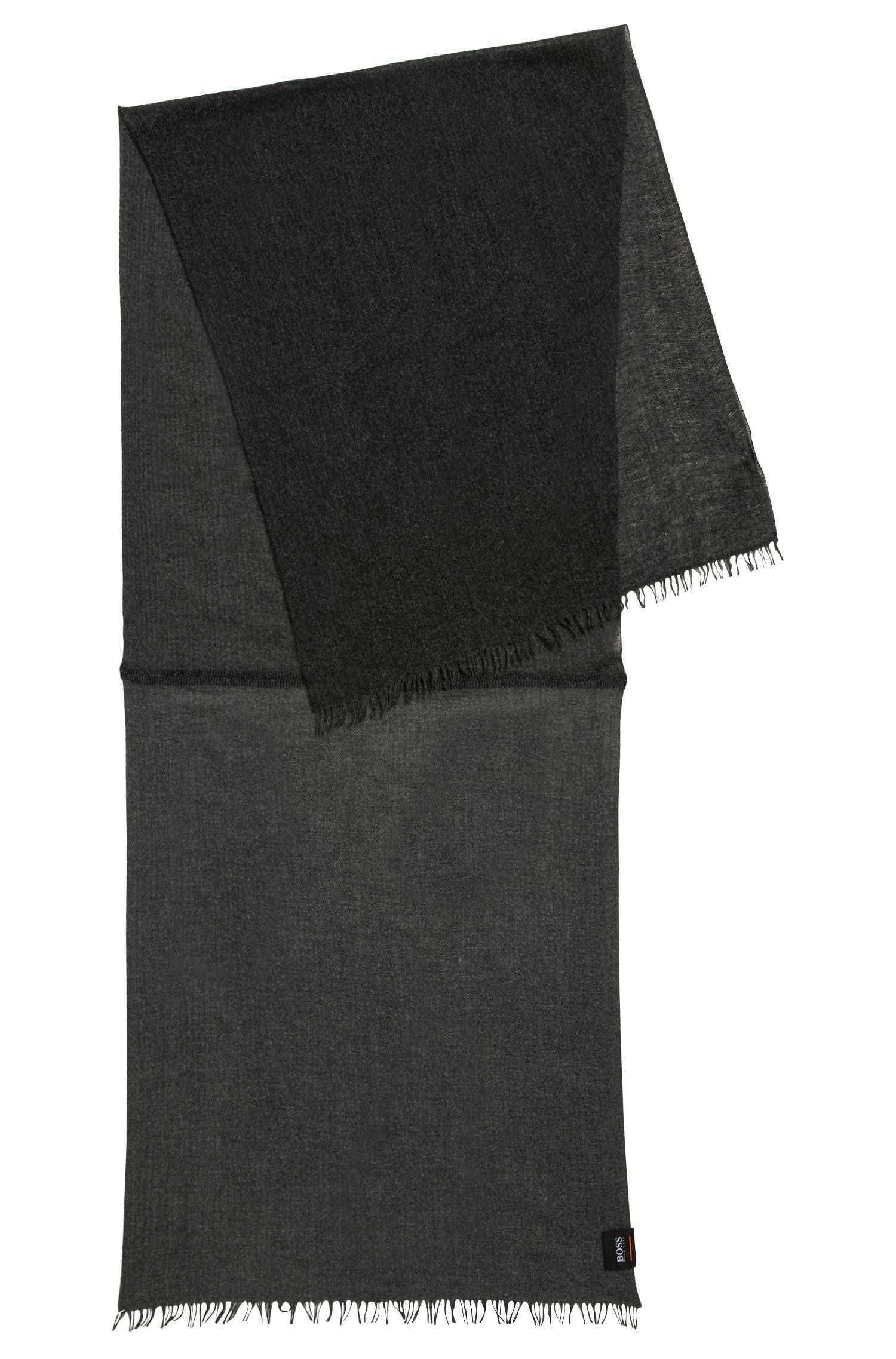 Écharpe chinée en tissus mélangés, Noir