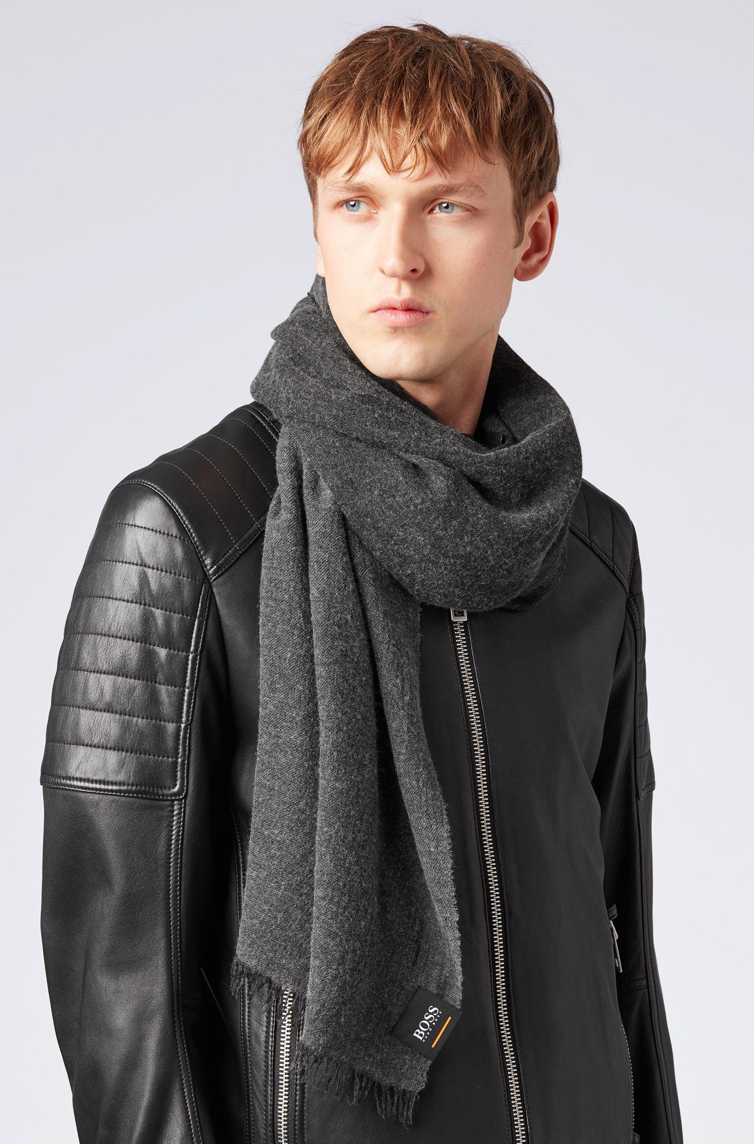 Bufanda jaspeada con mezcla de tejidos, Negro
