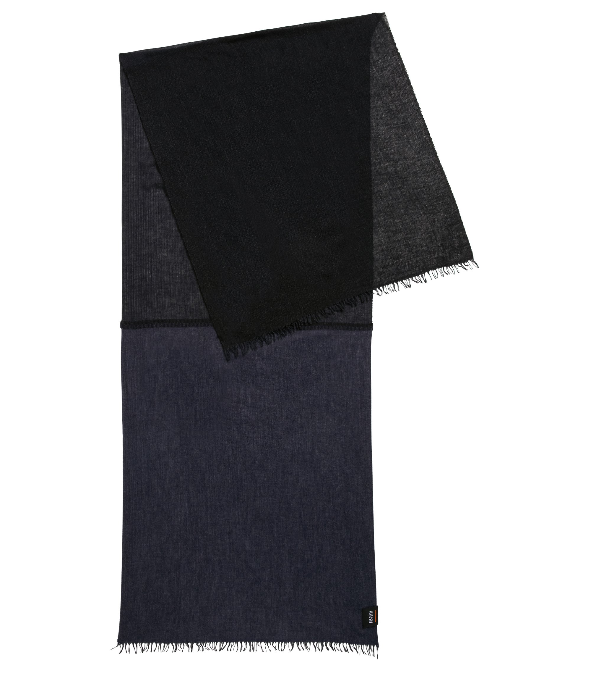 Melange scarf in mixed weaves, Dark Blue