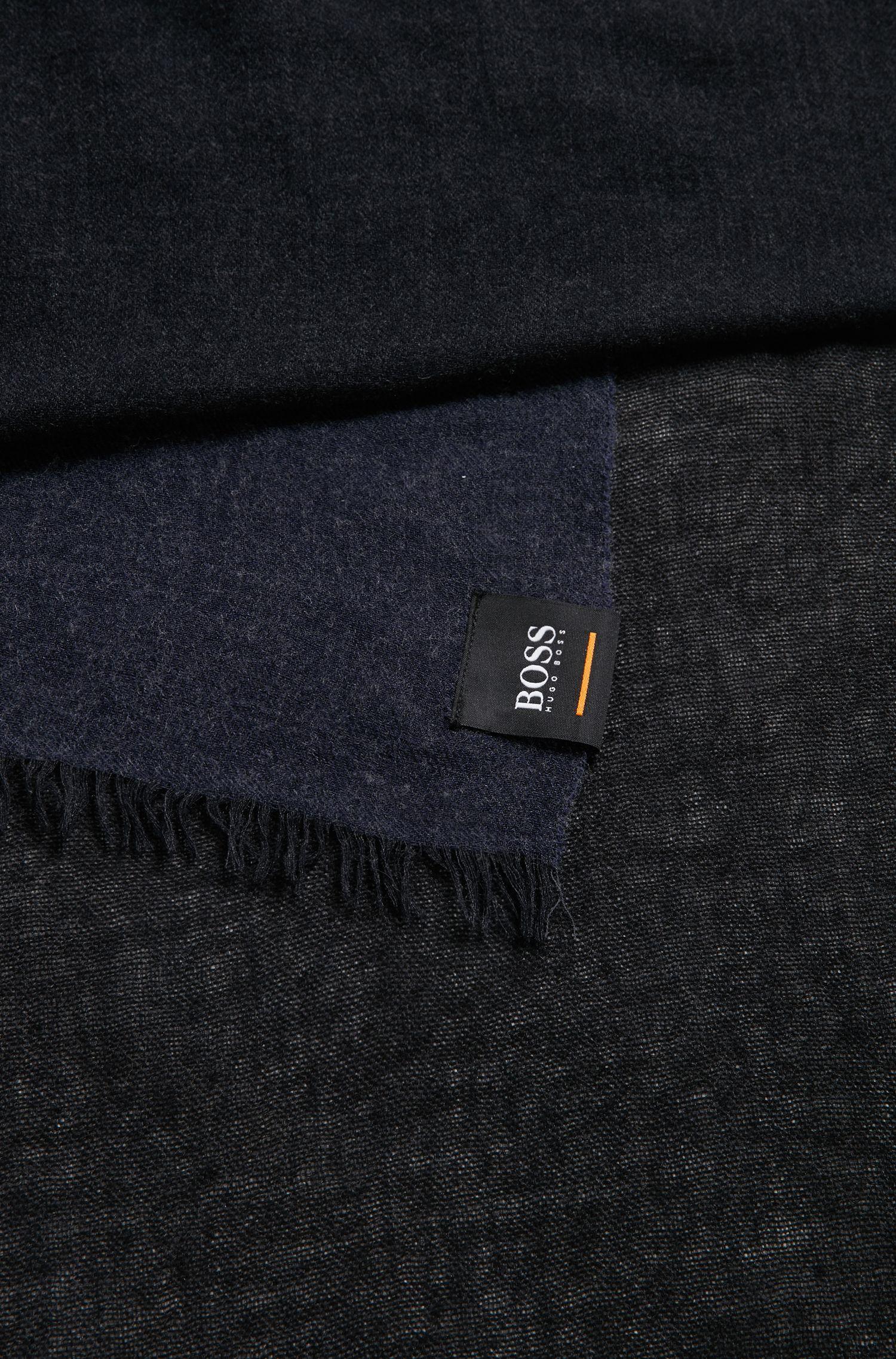 Écharpe chinée en tissus mélangés, Bleu foncé