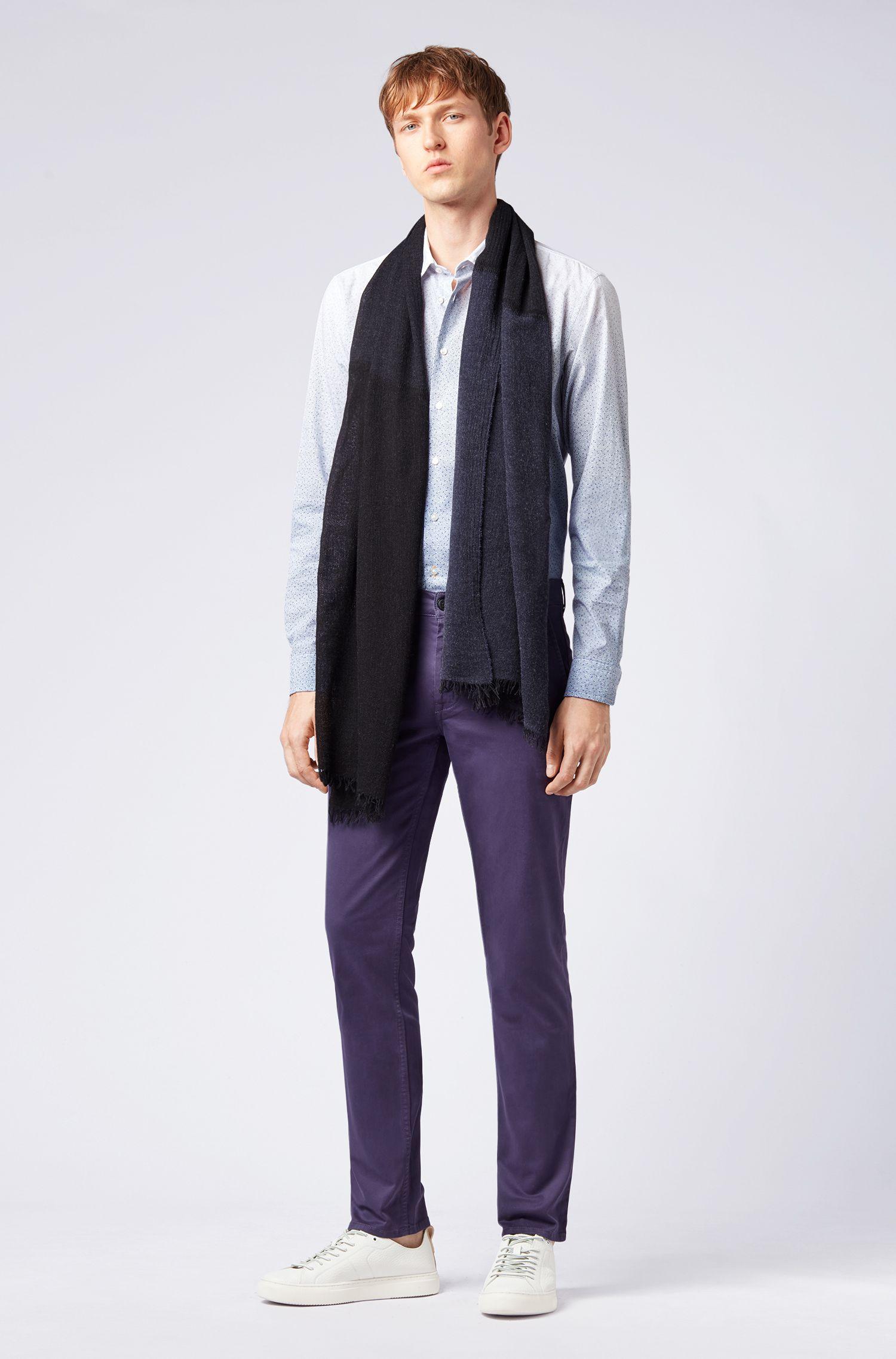 Melange scarf in mixed weaves, Dark Blue