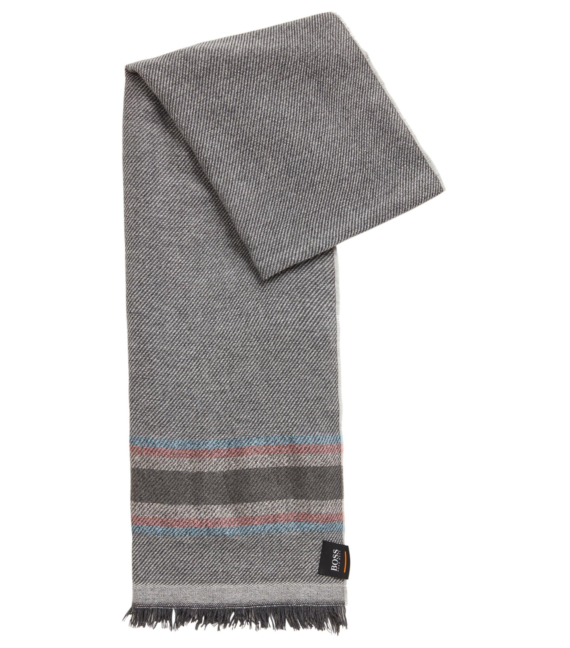 Écharpe en twill doux à rayures multicolores, Gris chiné
