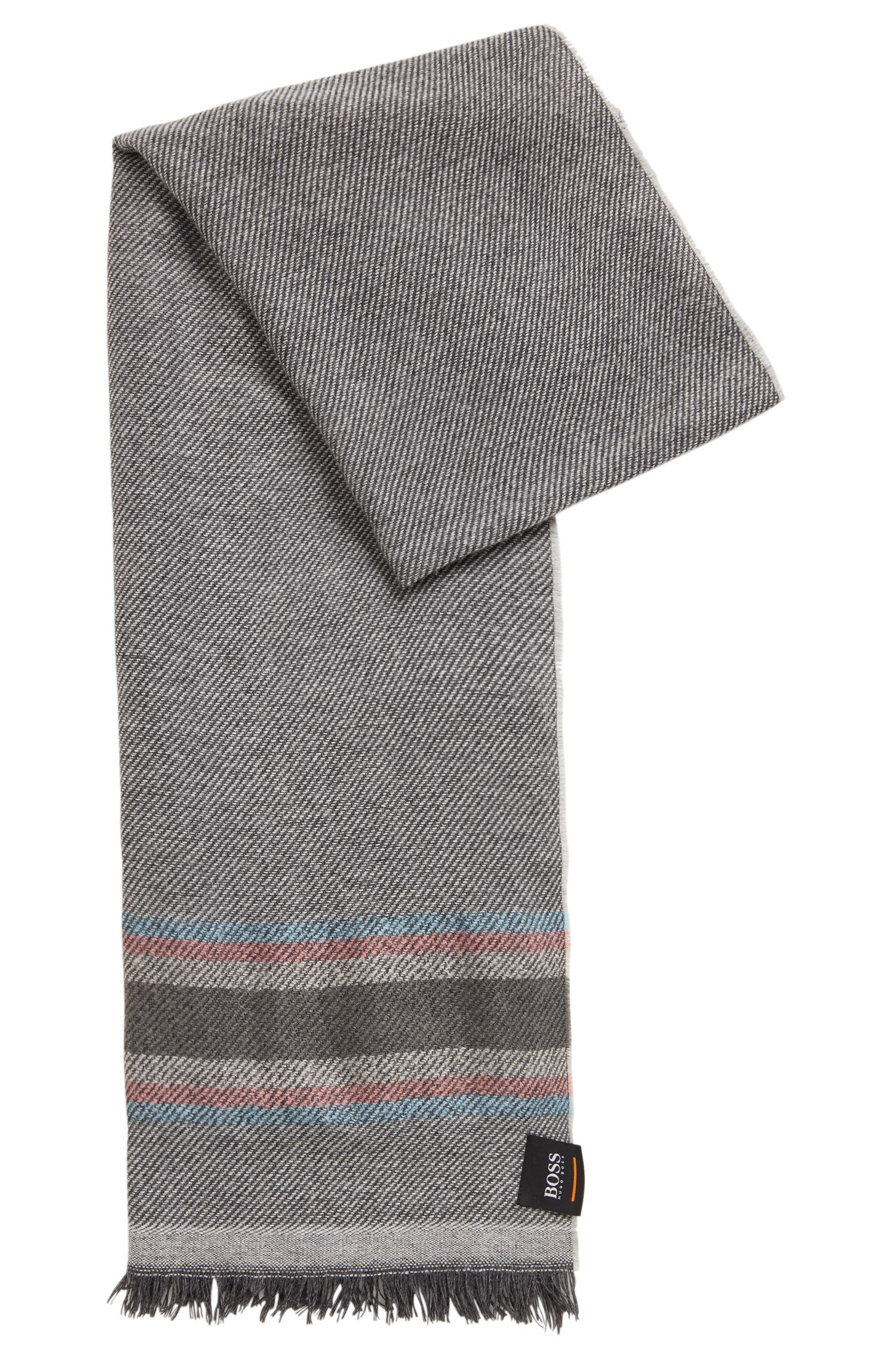 Soft twill scarf with multicoloured stripes, Light Grey