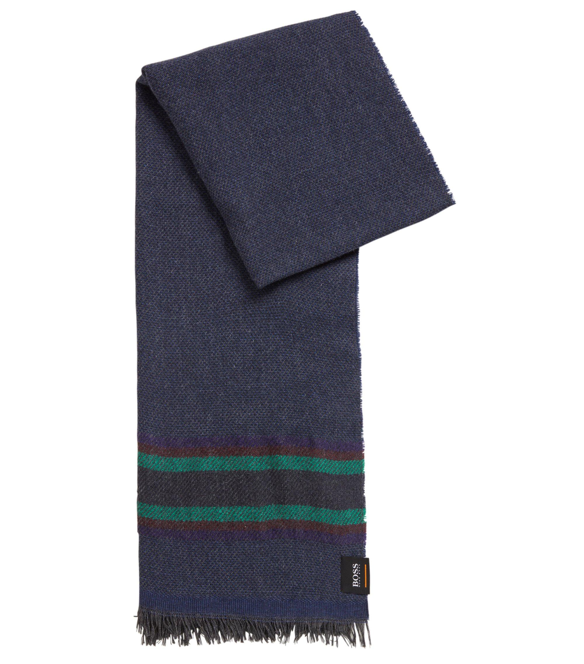 Écharpe en twill doux à rayures multicolores, Bleu