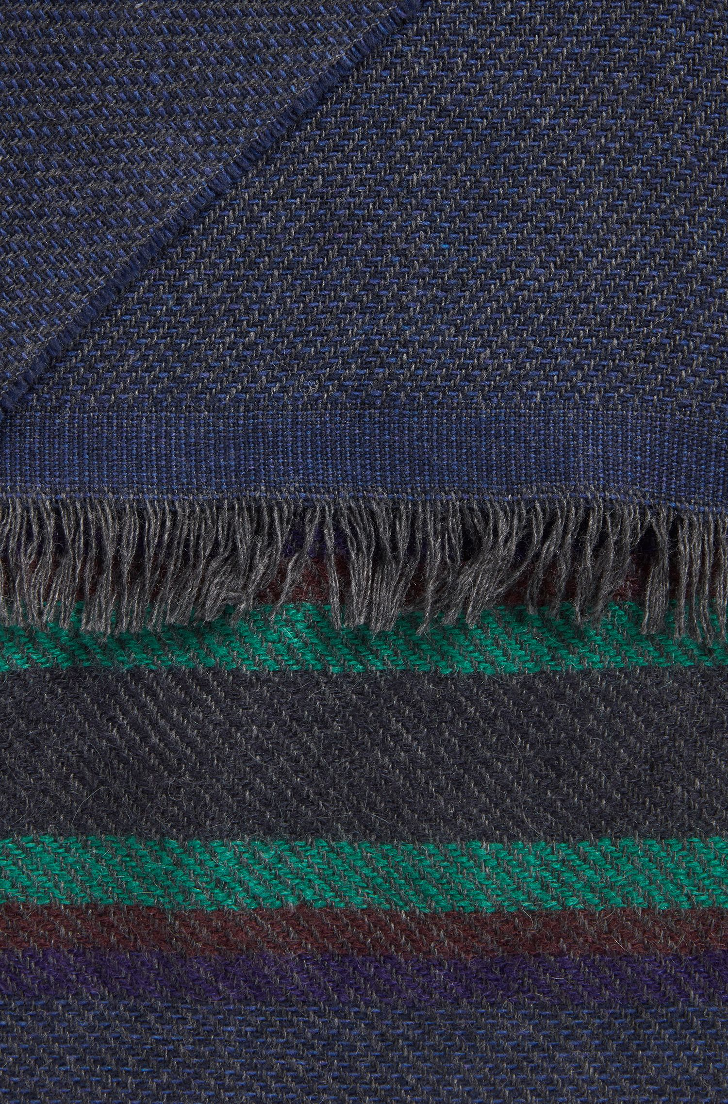 Soft twill scarf with multicoloured stripes, Blue