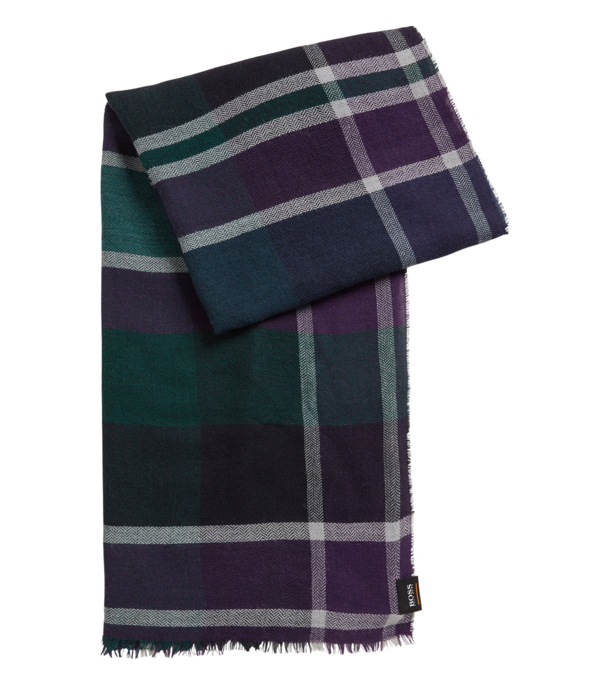 Garment-washed scarf in a multicoloured check, Blue