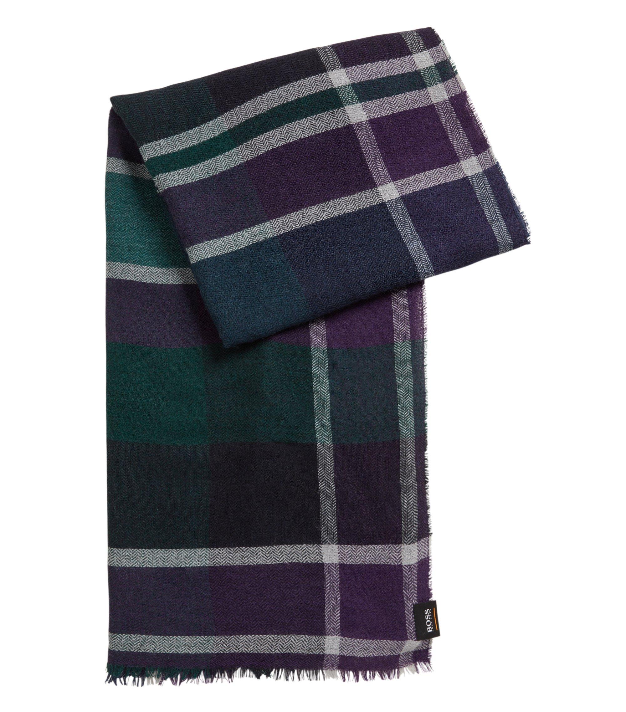 Écharpe à carreaux multicolores, à la finition lavée, Bleu