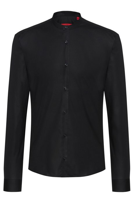 Relaxed-fit shirt in stretch cotton with stand collar, Black