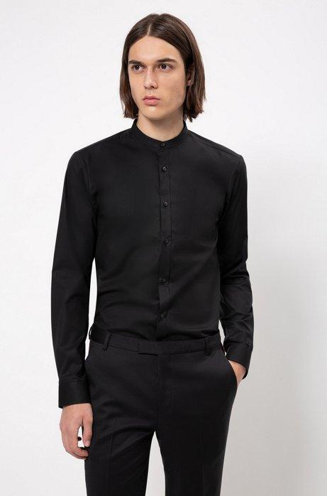 Chemise Extra Slim Fit en coton stretch à col montant, Noir